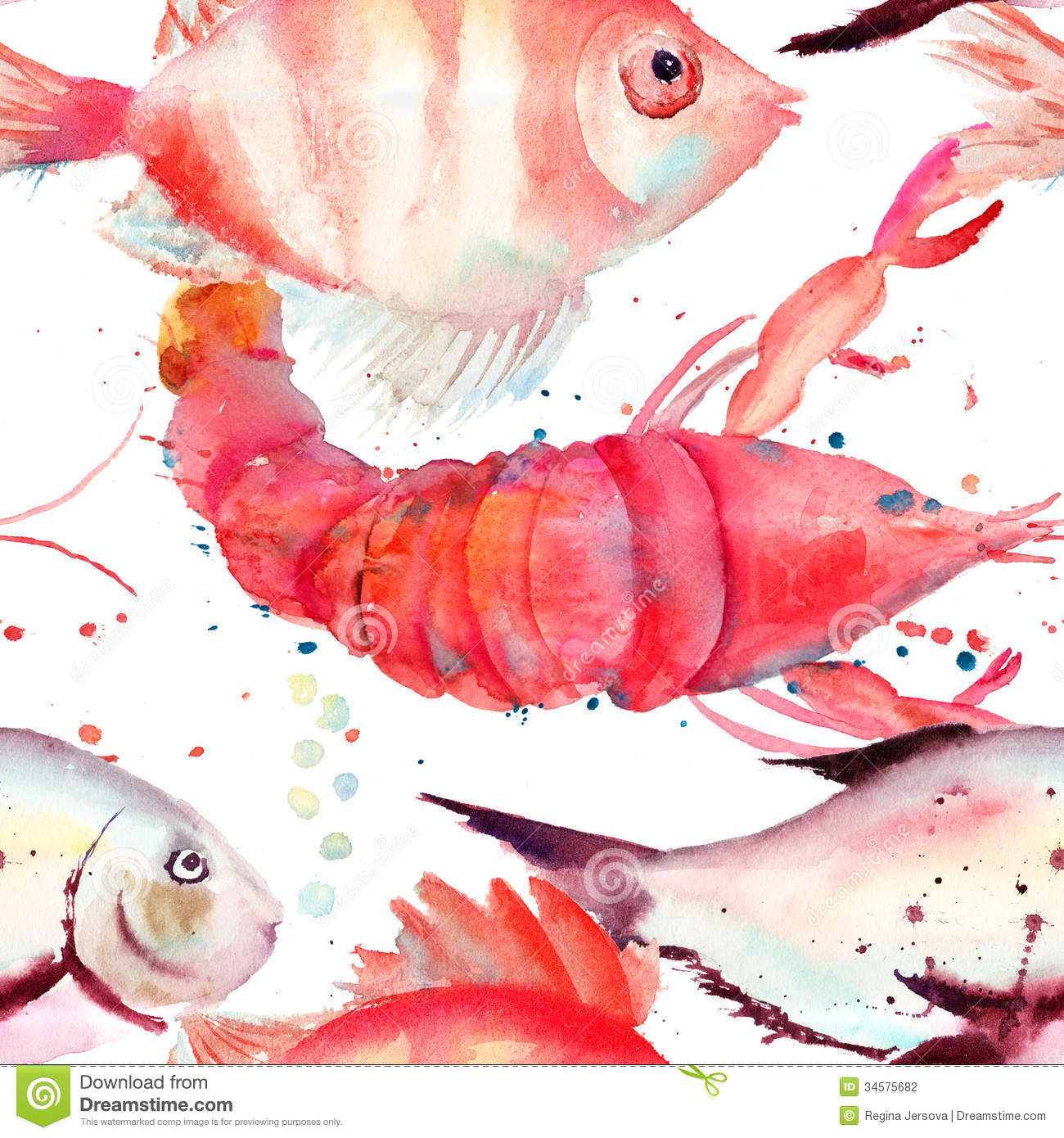 Watercolor Illustration Of Lobster And Fish Stock Illustration ...