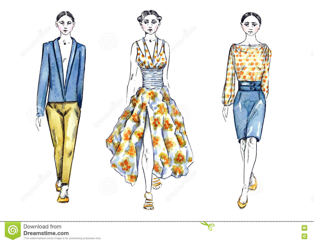 Watercolor Illustration Models in Fashion Show