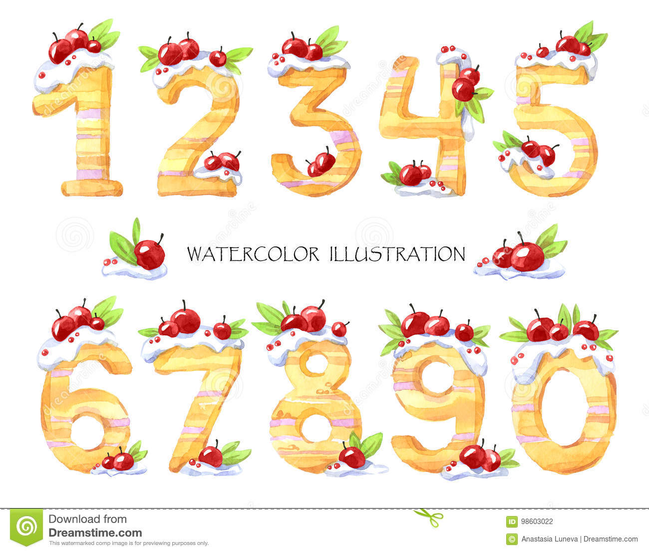 Watercolor Illustration Of Numbers From Zero To Nine Sweet Tasty