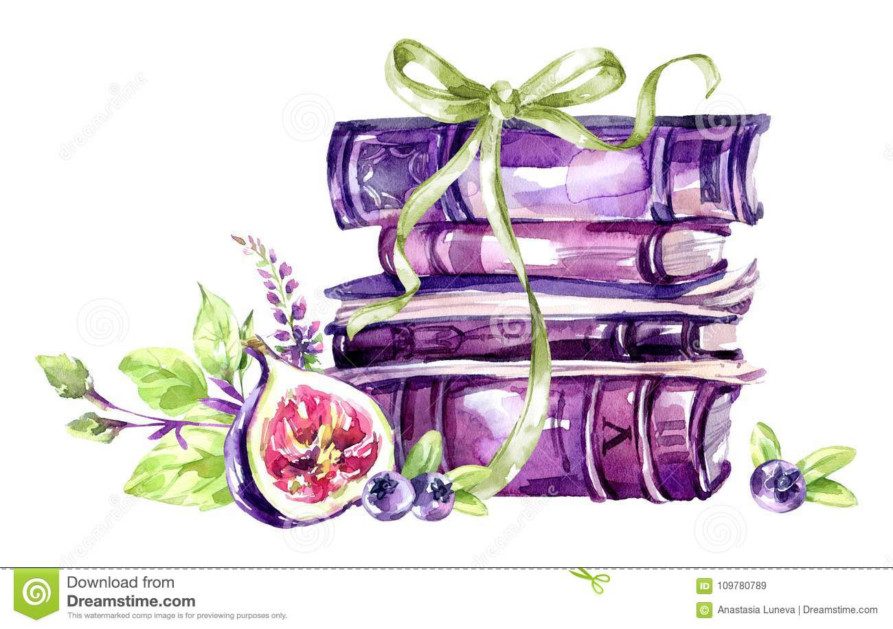 Watercolor Illustration A Pile Of Old Books With Bow Figs Leaves And