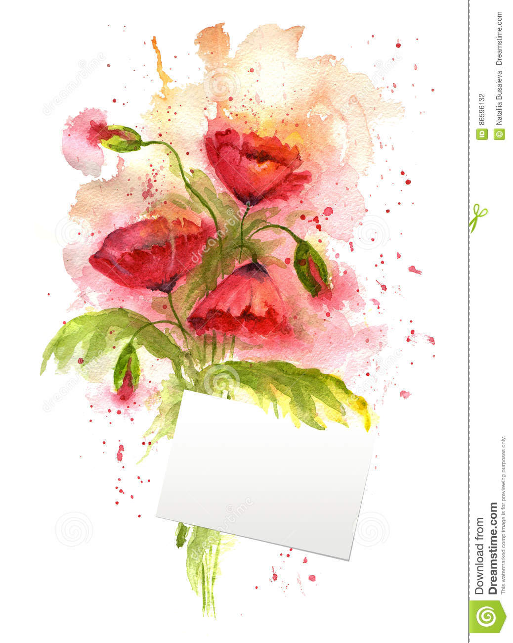 Watercolor Illustration Of Red Poppy Flowers And Small Card For