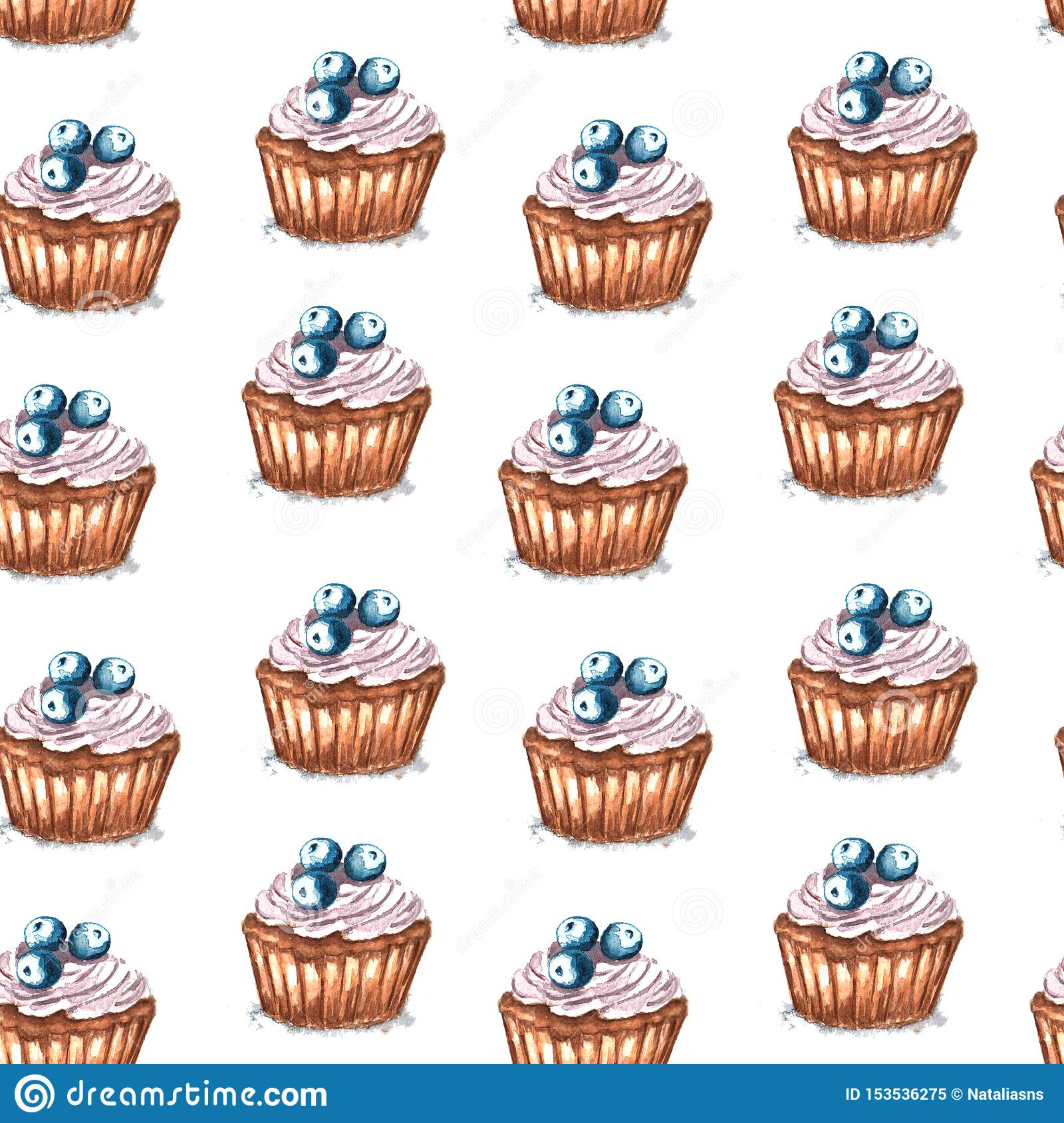 Watercolor illustration of seamless pattern cupcake with blueberry