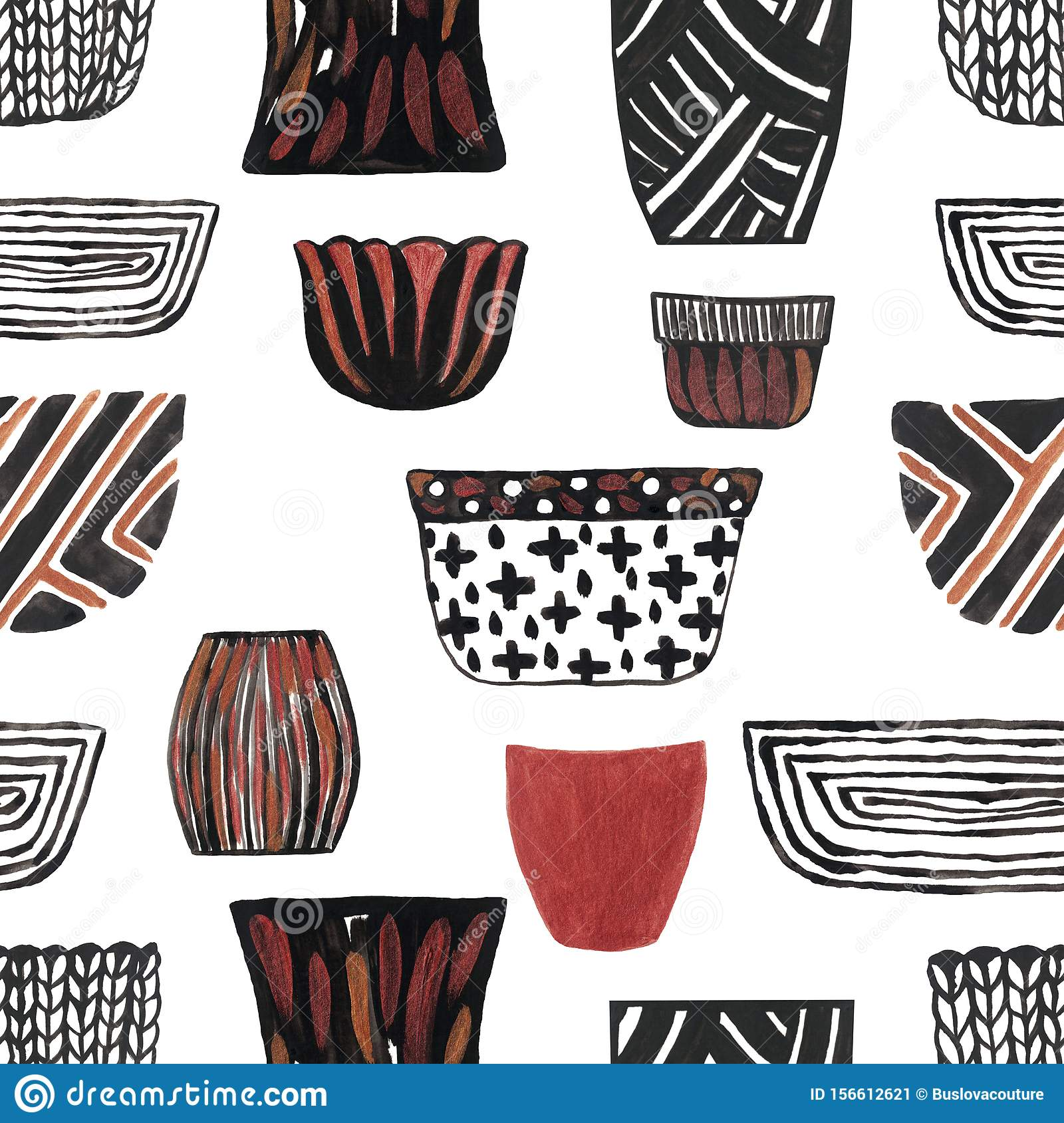 Watercolor Illustration Set Of Ceramic Flower Pot Sseamless Pattern Hand Painted Stock Illustration Illustration Of Wallpaper Insulated 156612621