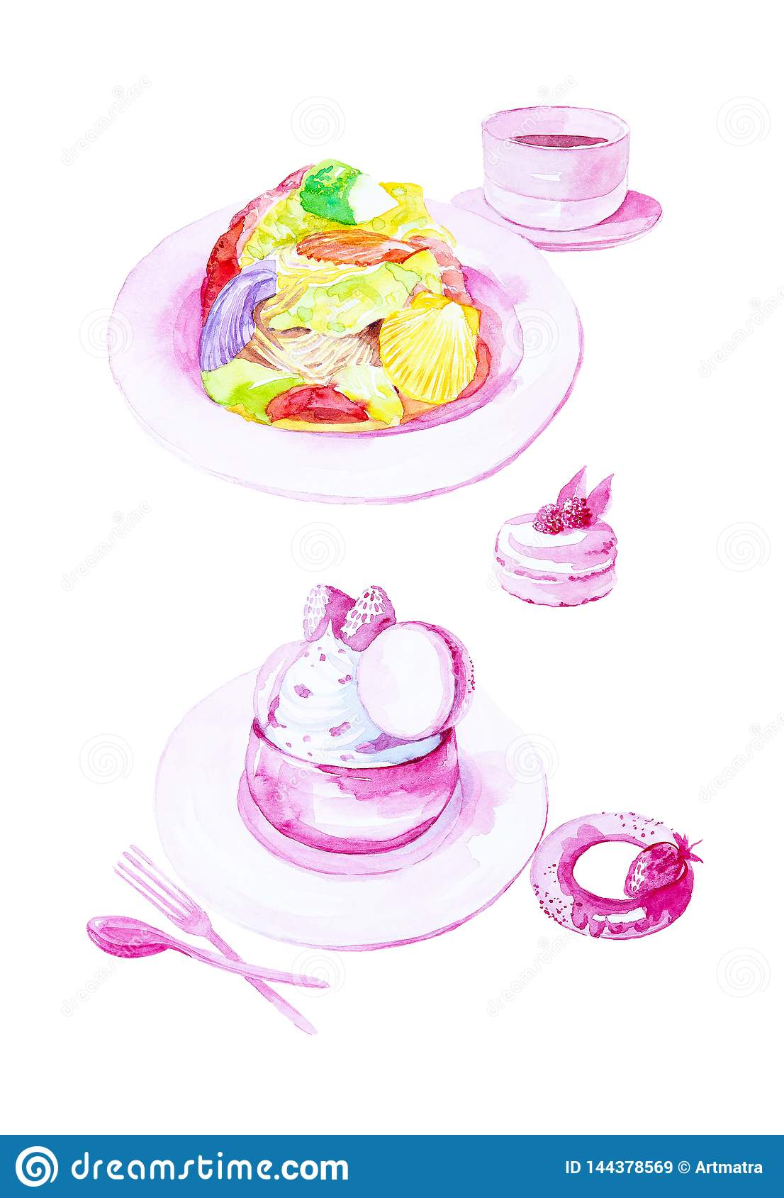 Watercolor illustration of set of salad of scallops,dessert ice cream,bagel with strawberries and macaroon cakes. Isolated on