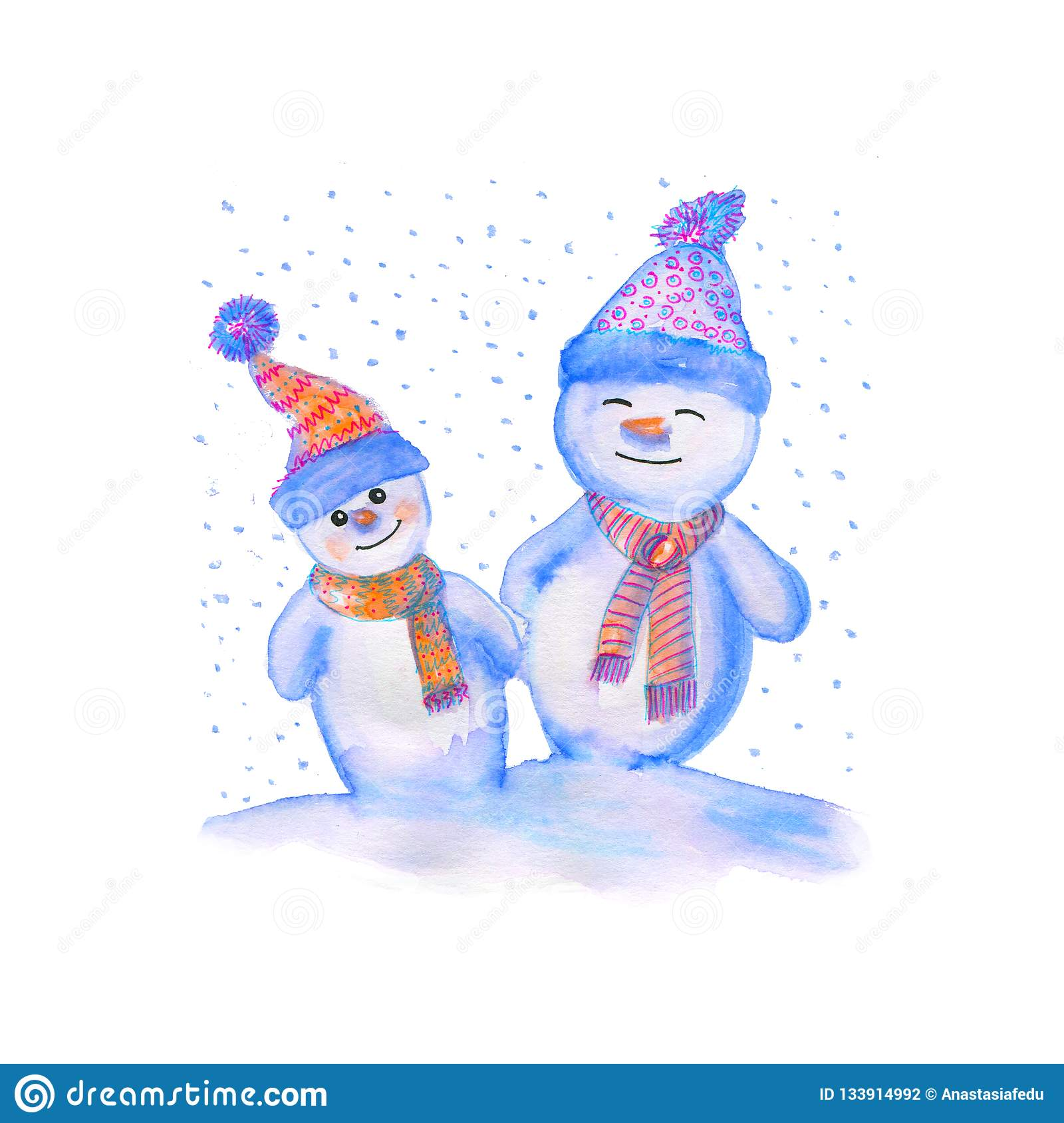 Watercolor illustration of a snowmen in warm hats and scarves. Winter symbol of the New Year.