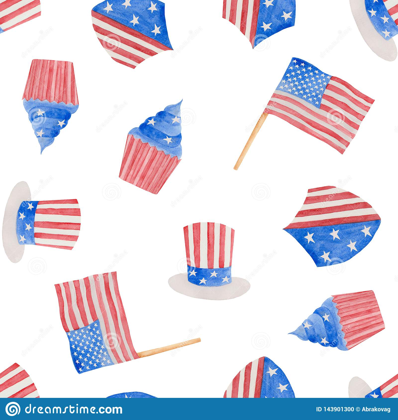 Watercolor illustration 4th of july independence day in USA