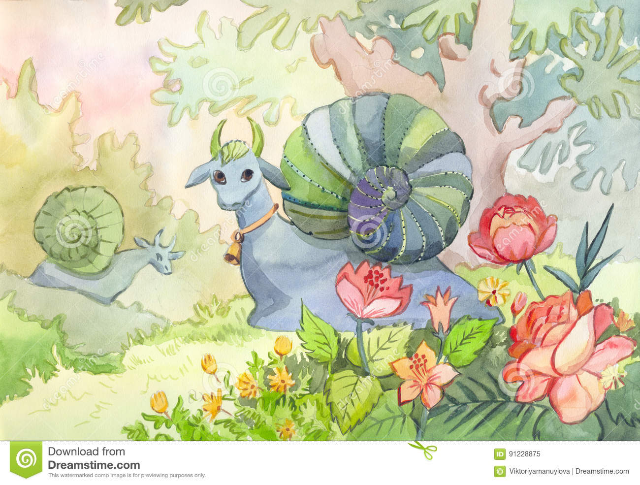 Book Cover Watercolor Uk : Watercolor illustration with two fantastic animals snail