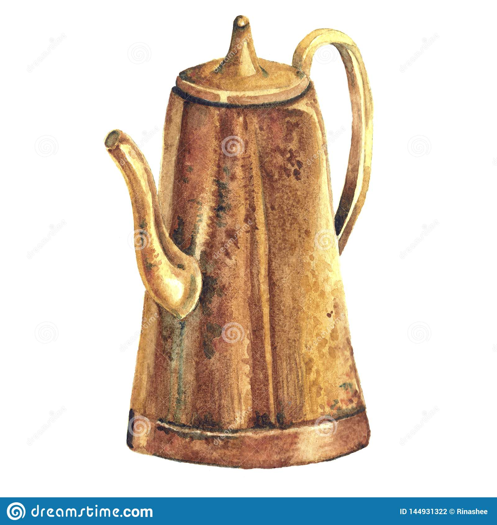 Watercolor illustration of vintage coffee pot on white background. Hand painted illustration