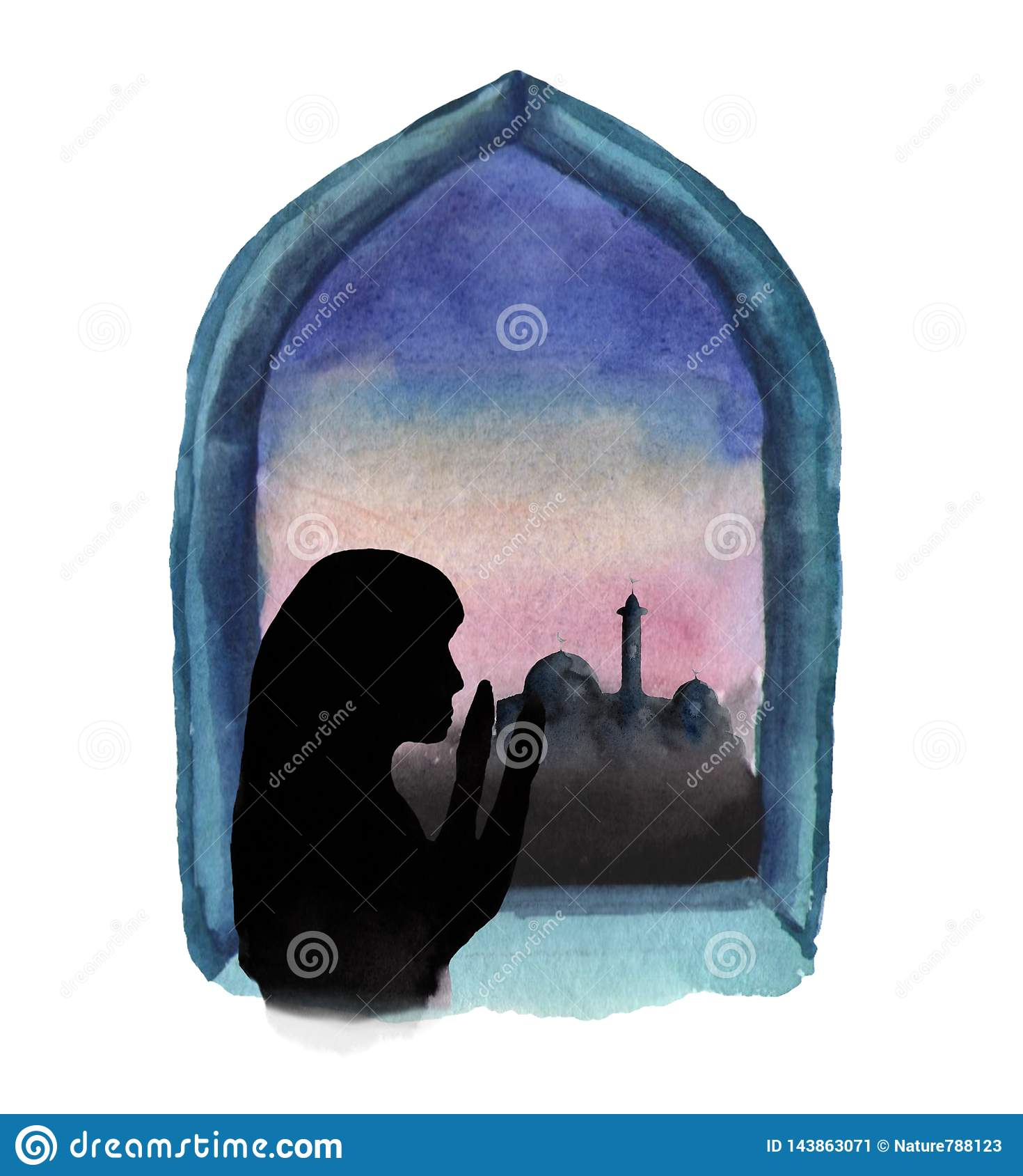 Watercolor illustration of a window in which a mosque and sunrise are visible, a Muslim woman prays, Ramadan
