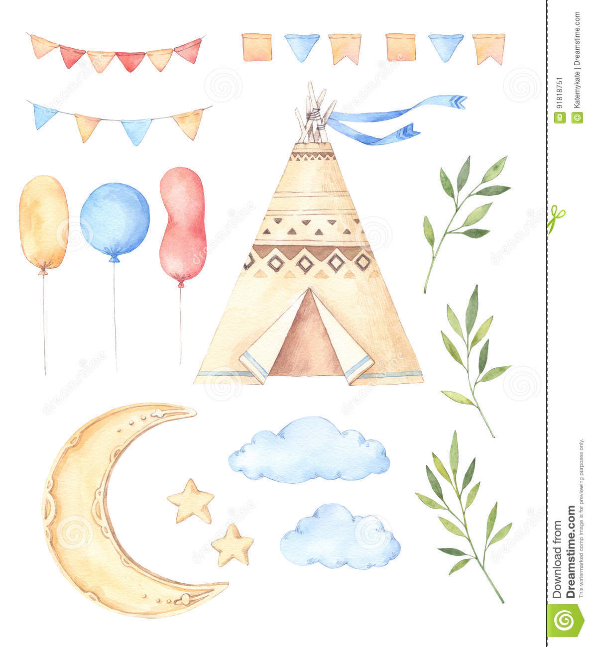 Watercolor illustrations - Kids tent, moon and stars, balloons,