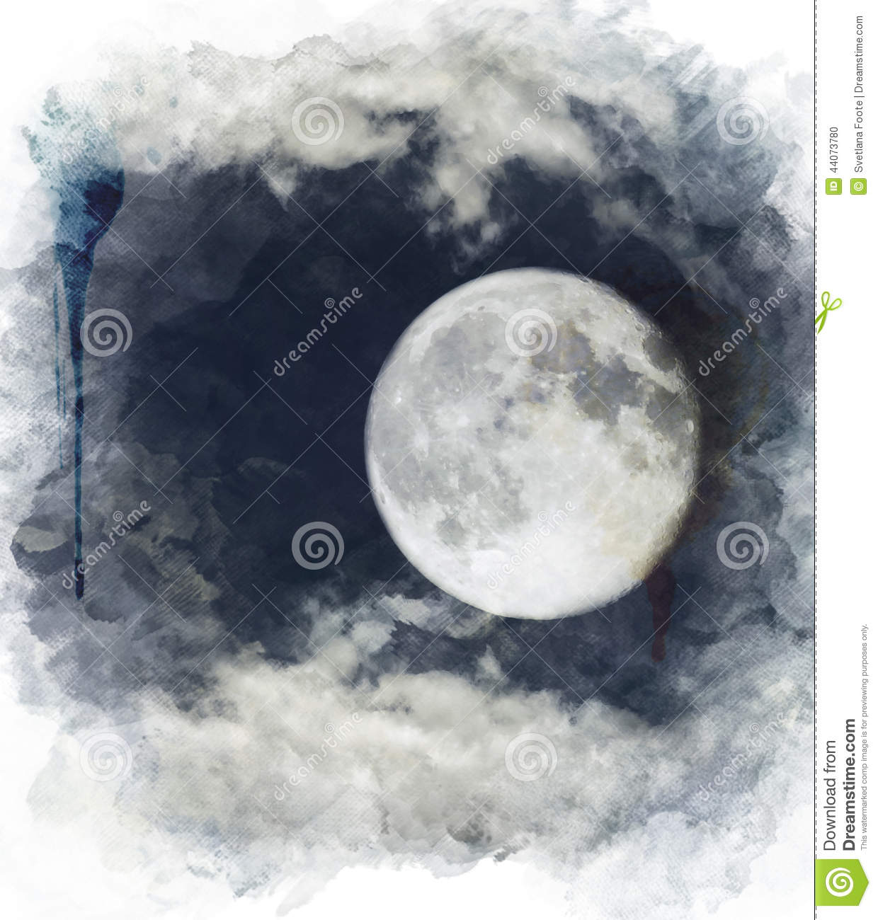 watercolor image of full moon stock illustration image