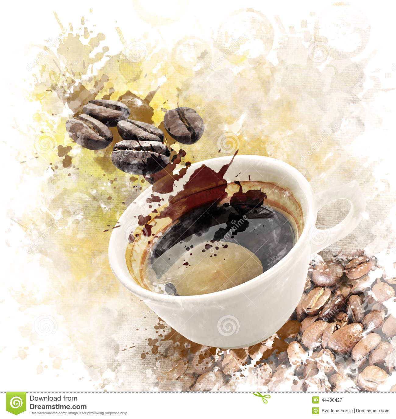 Watercolor image of morning coffee stock illustration for Coffee watercolor