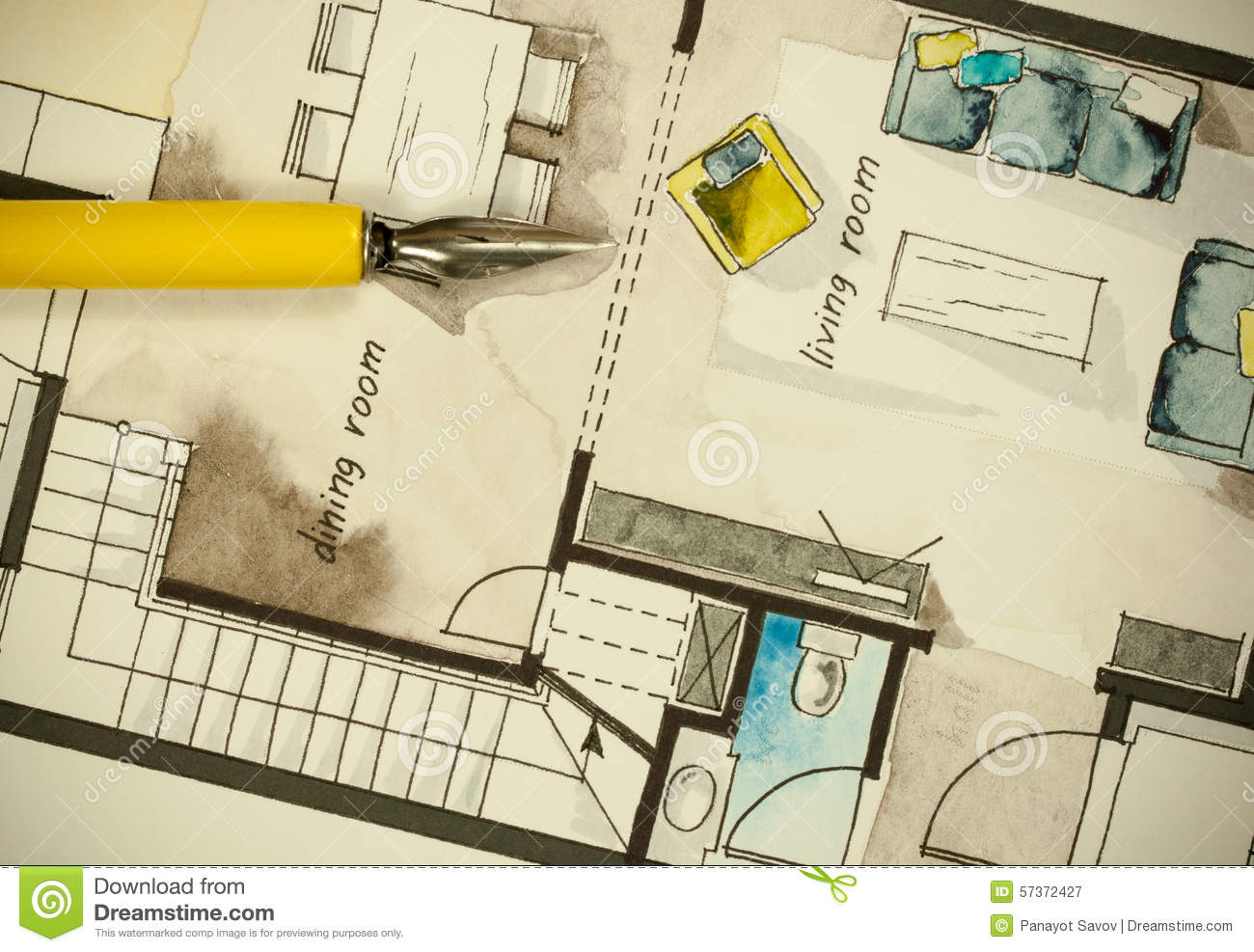 Architectural Flat Floor Plan Stock Illustration Image