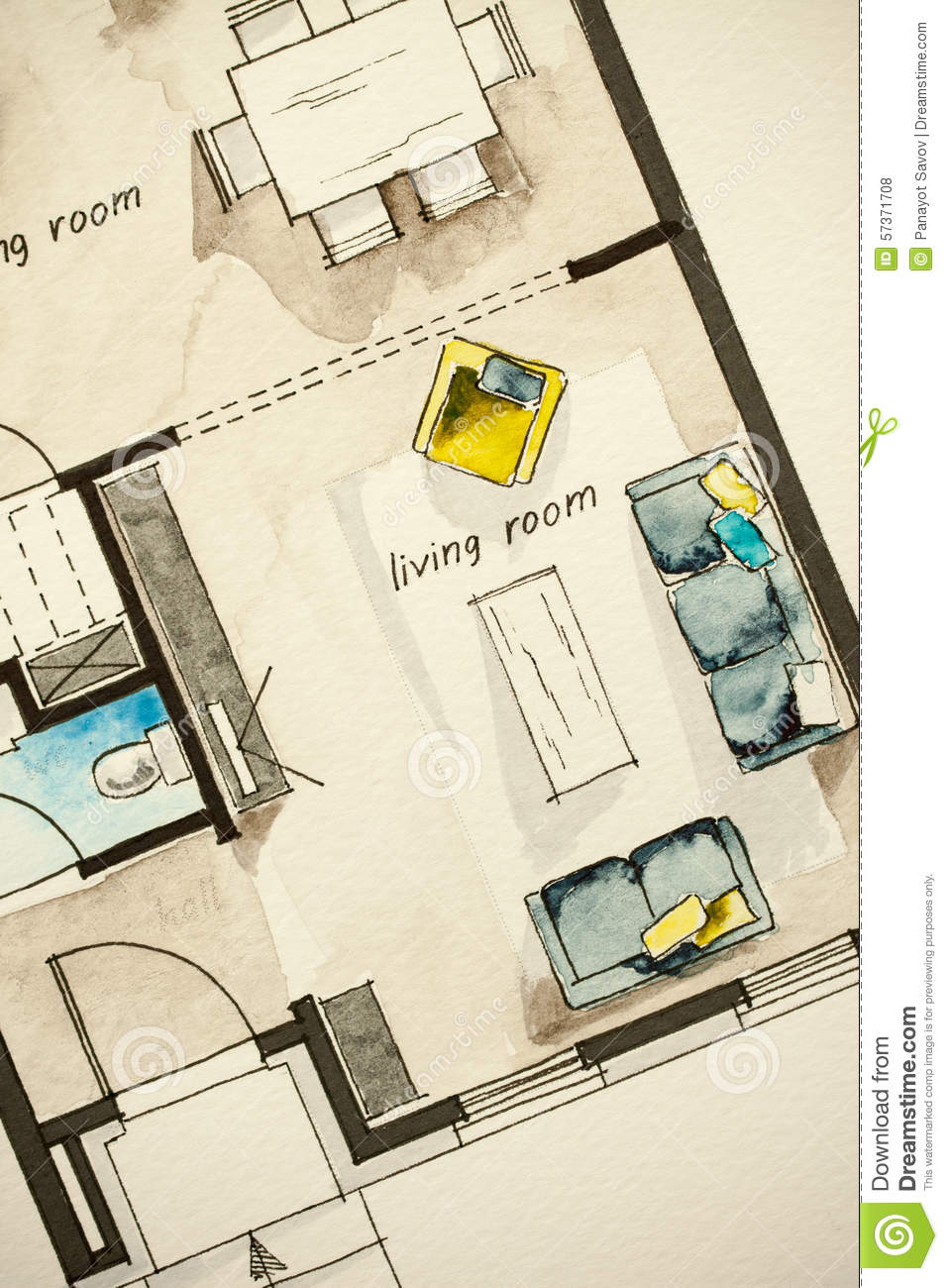 Watercolor ink freehand sketch drawing of partial house floor plan as aquarell painting showing - Floor plans for free paint ...