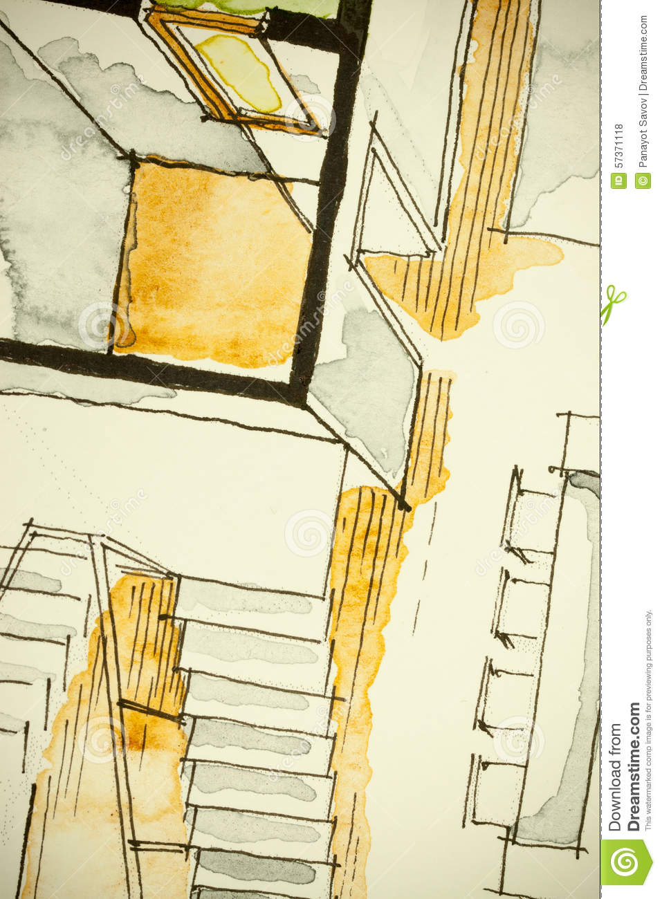 Watercolor Drawing House Royalty Free Cartoon