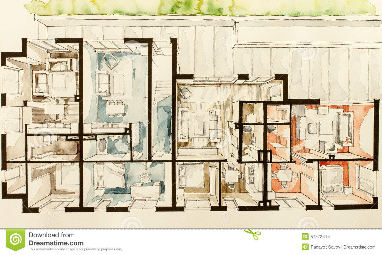 3d Sketch Of Home Design Stock Illustration Image 57372414