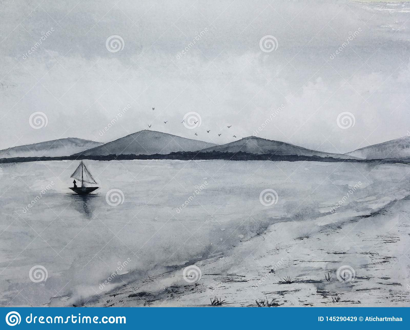 Watercolor ink landscape sea fishing sail boat to coast and island mountains fog birds flying in the sky. traditional oriental. as