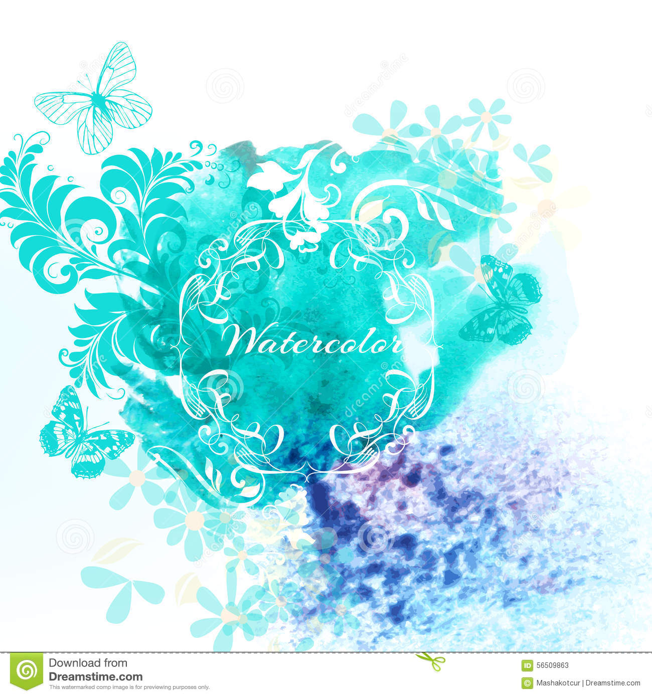 Watercolor Invitation Background With Blue Watercolor