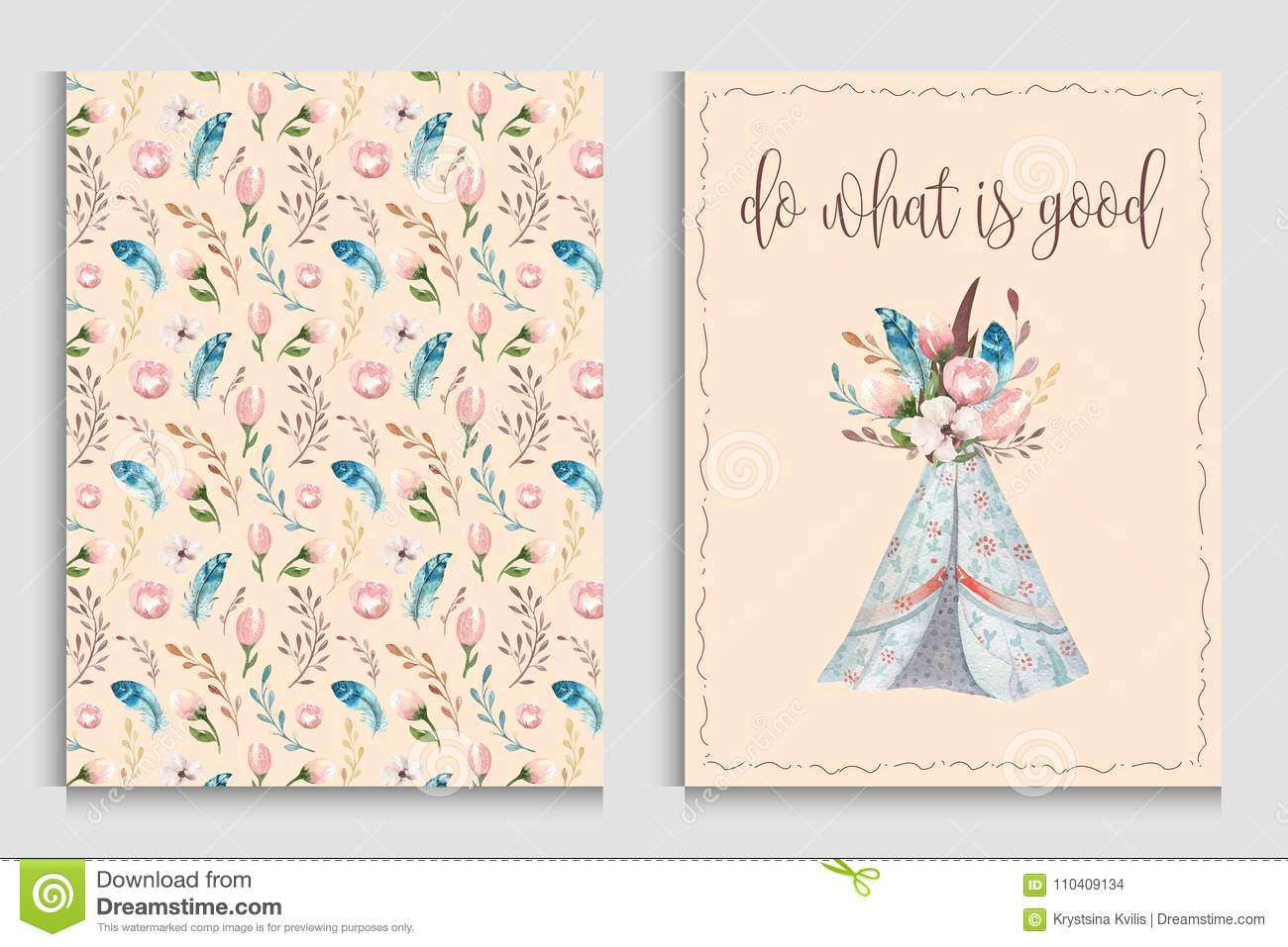 d6ed21e9d2415 Watercolor Invitation Card With Teepee. Bohemian PosterT Emplate ...