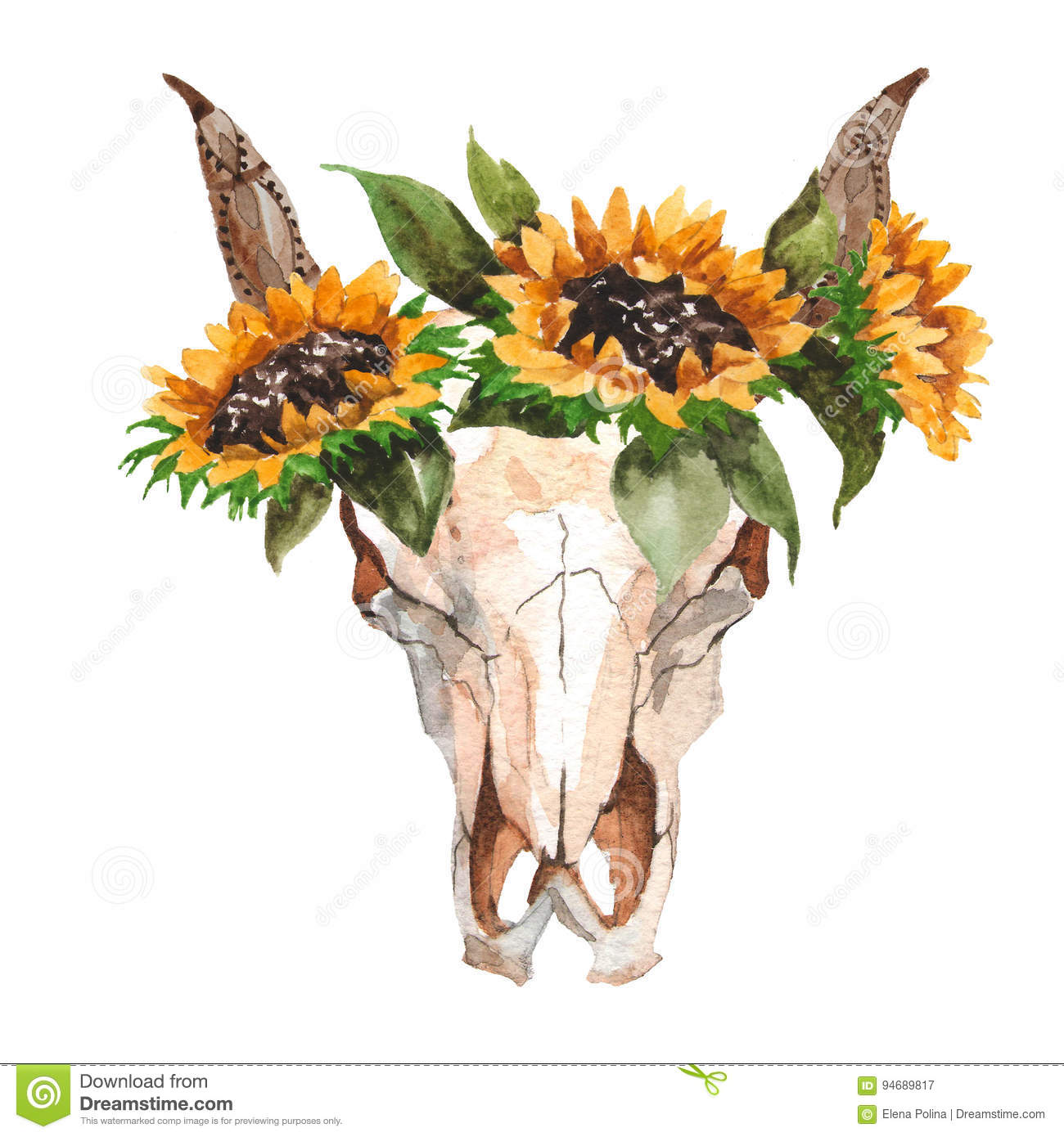 Download Watercolor Isolated Bulls Head With Flowers And Feathers On White Background Boho