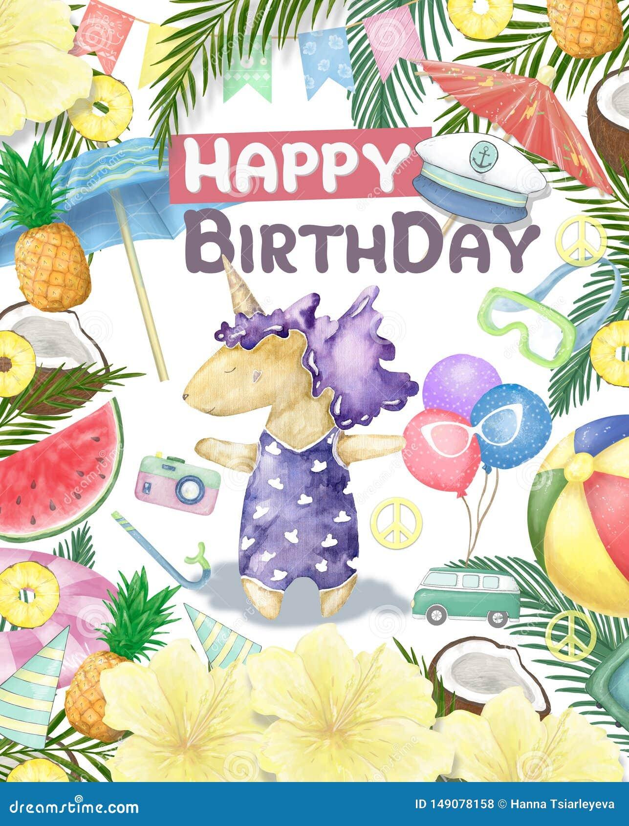 Watercolor isolated cute colorful unicorn clipart. Nursery unicorns illustration. Princess unicorns poster. Trendy pink cartoon