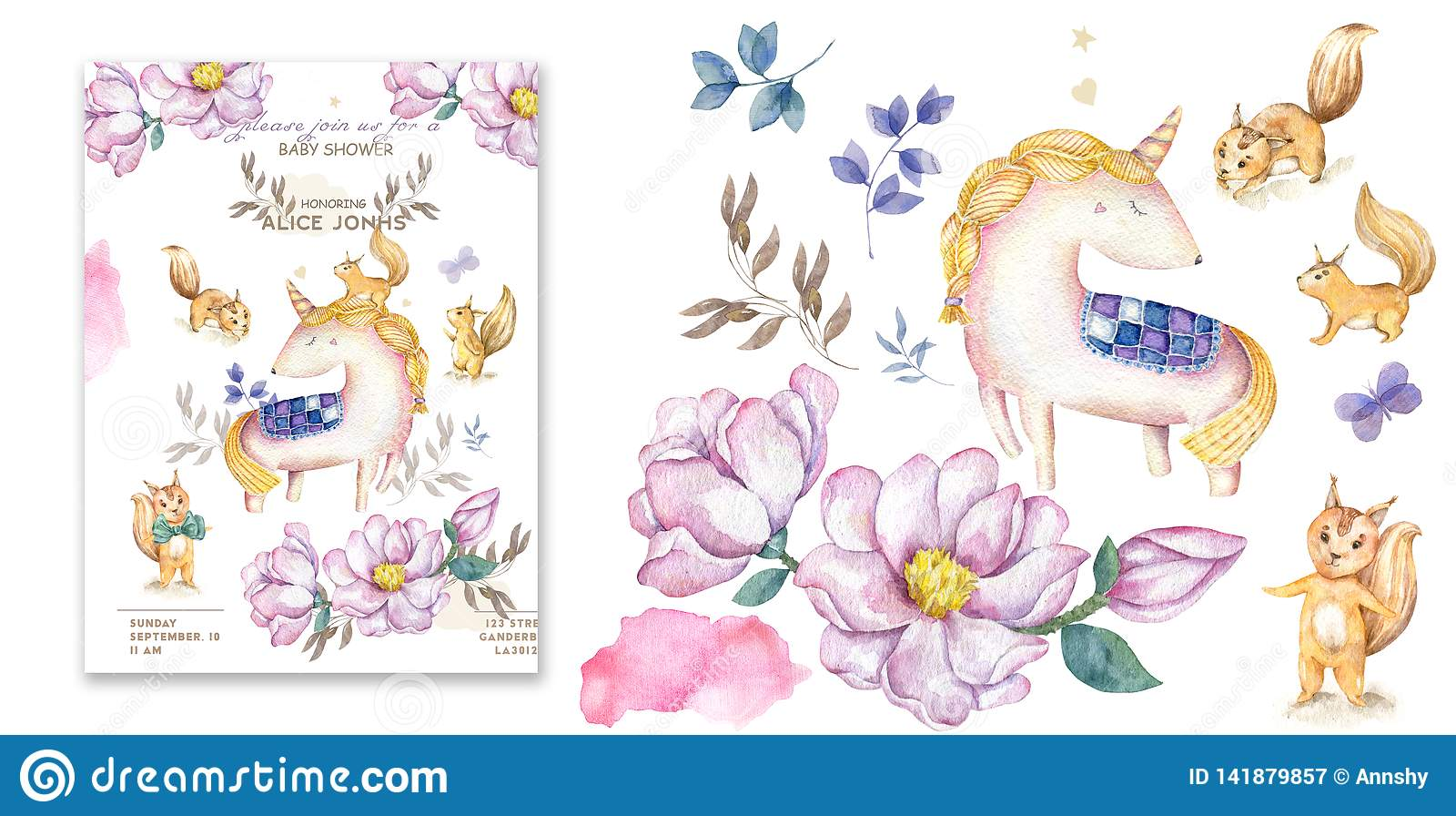 Watercolor isolated cute watercolor unicorn clipart. Nursery unicorns illustration. Princess unicorns poster. Trendy pink cartoon