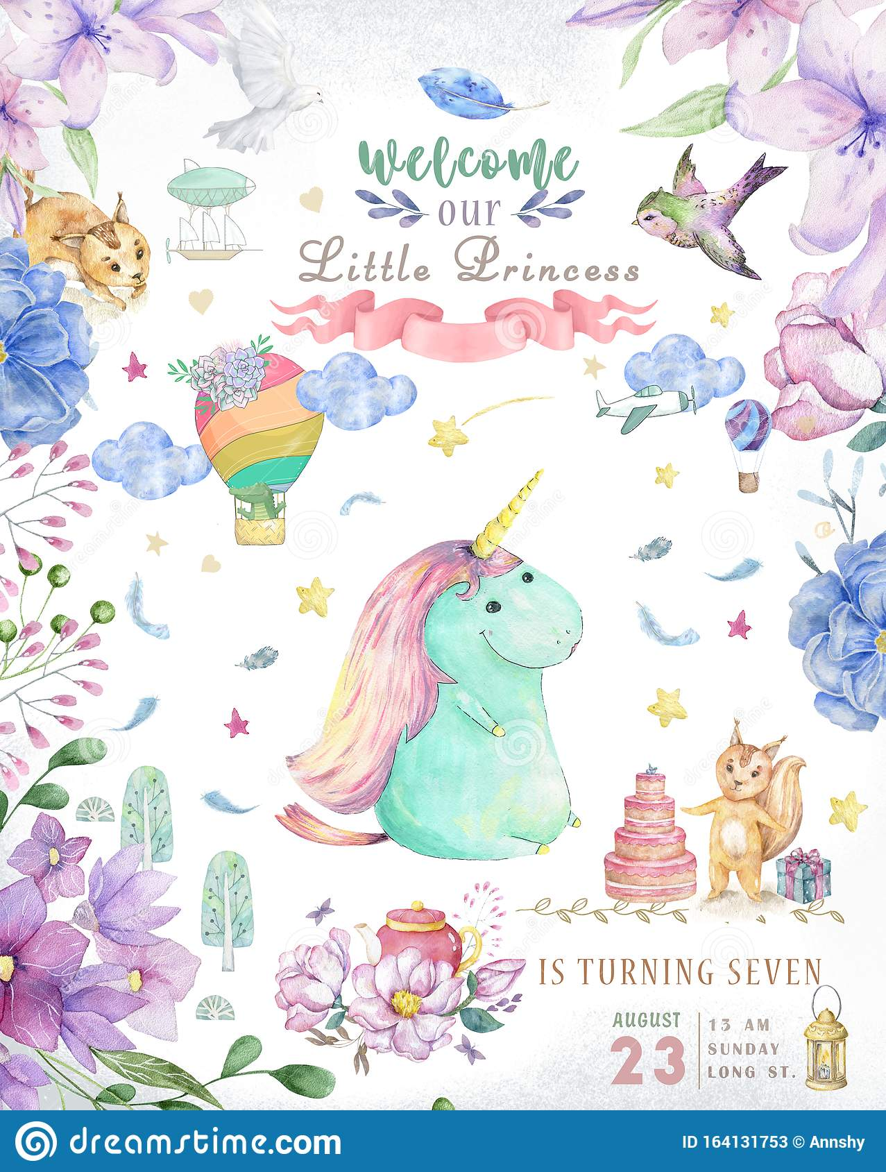 Watercolor isolated cute watercolor unicorn clipart. Nursery unicorns illustration. Princess unicorns poster. Trendy