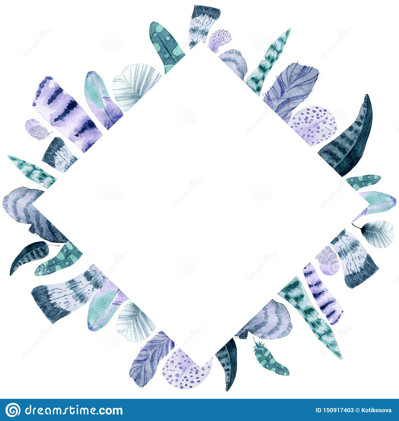 Watercolor isolated feather rhombus frame