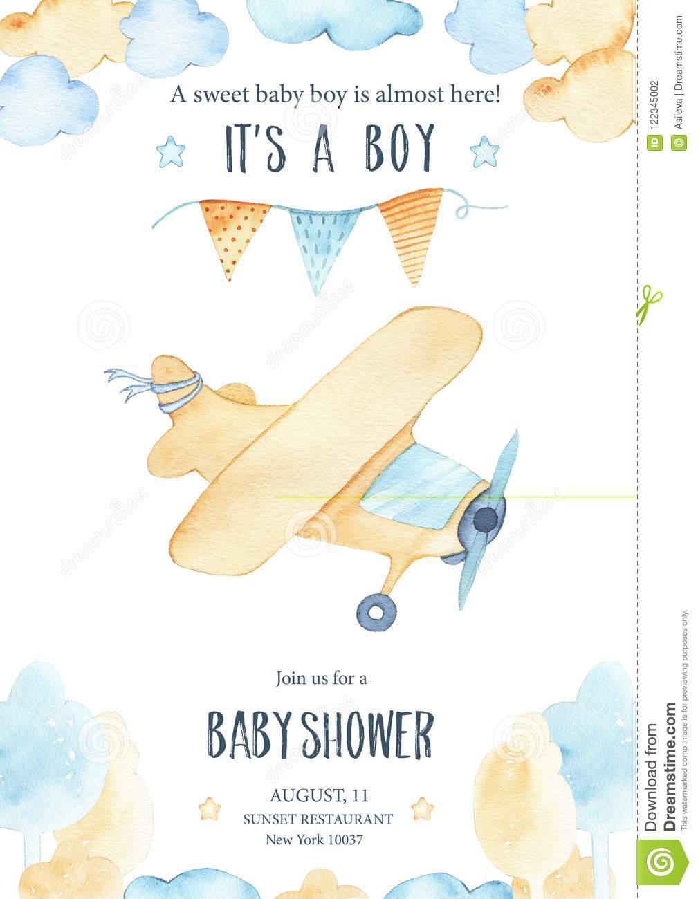 Watercolor Its Baby Boy Shower With Cute Airplane Orange Plane ...
