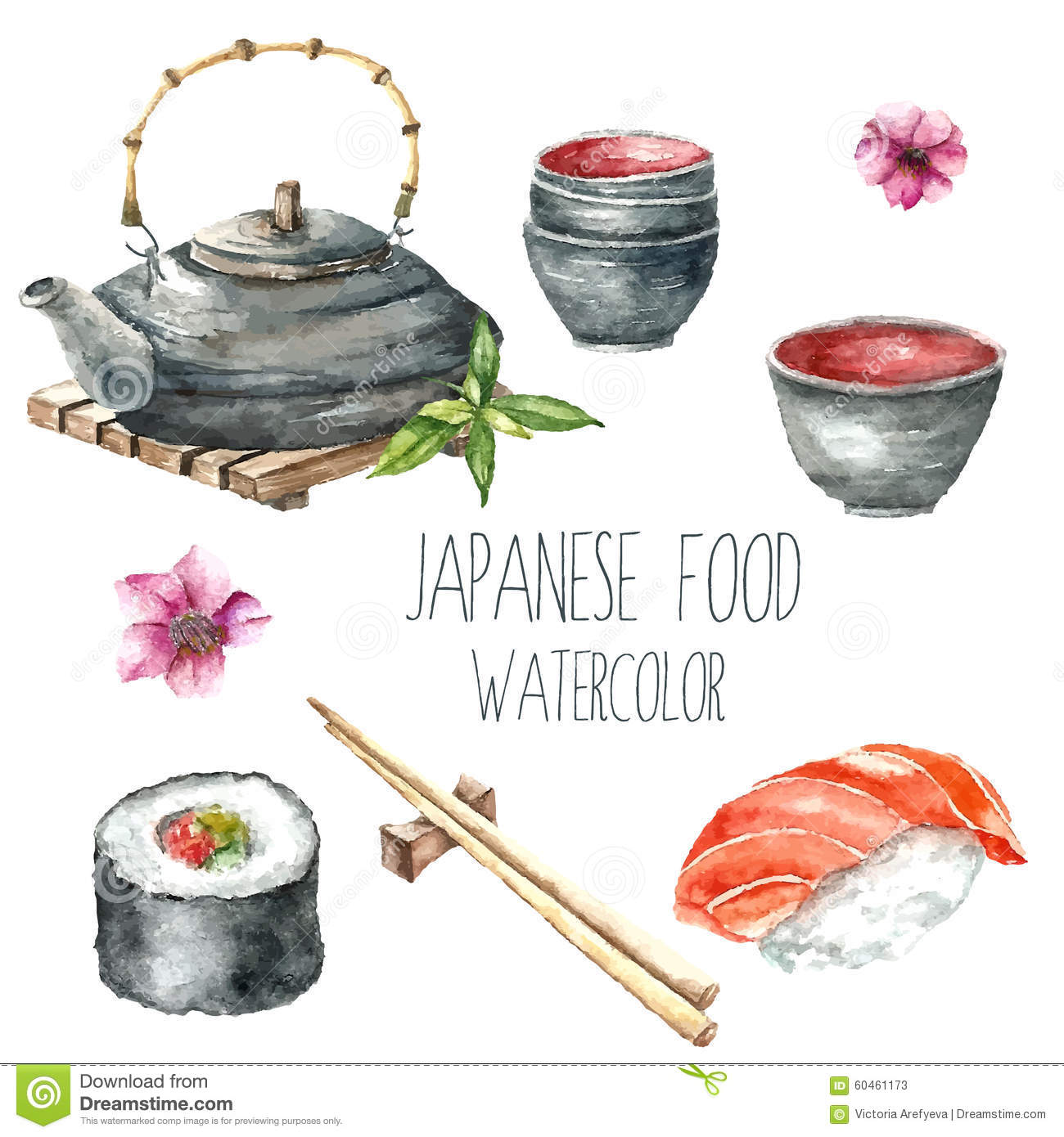 watercolor japanese food stock vector image of salmon