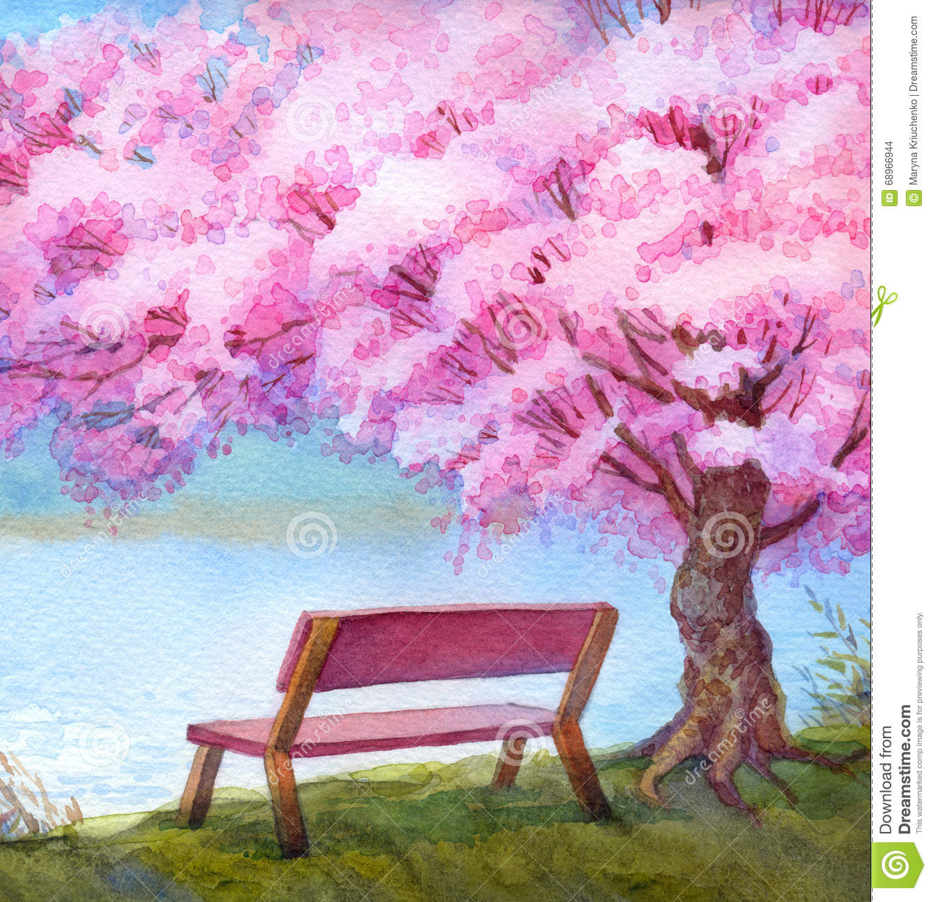 Watercolor Landscape Bench By River Under Flowering Peach