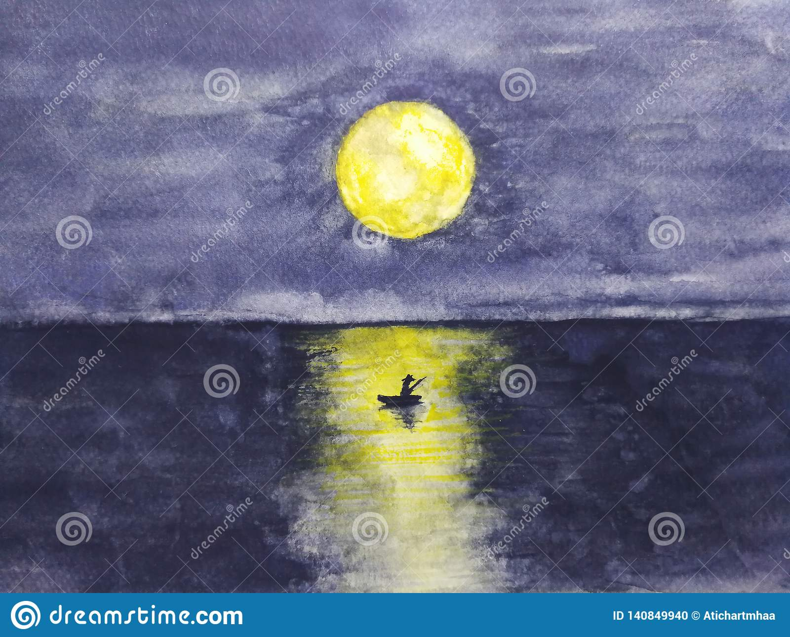 Watercolor landscape boat and the man lonely in ocean with full yellow moon reflection in water.