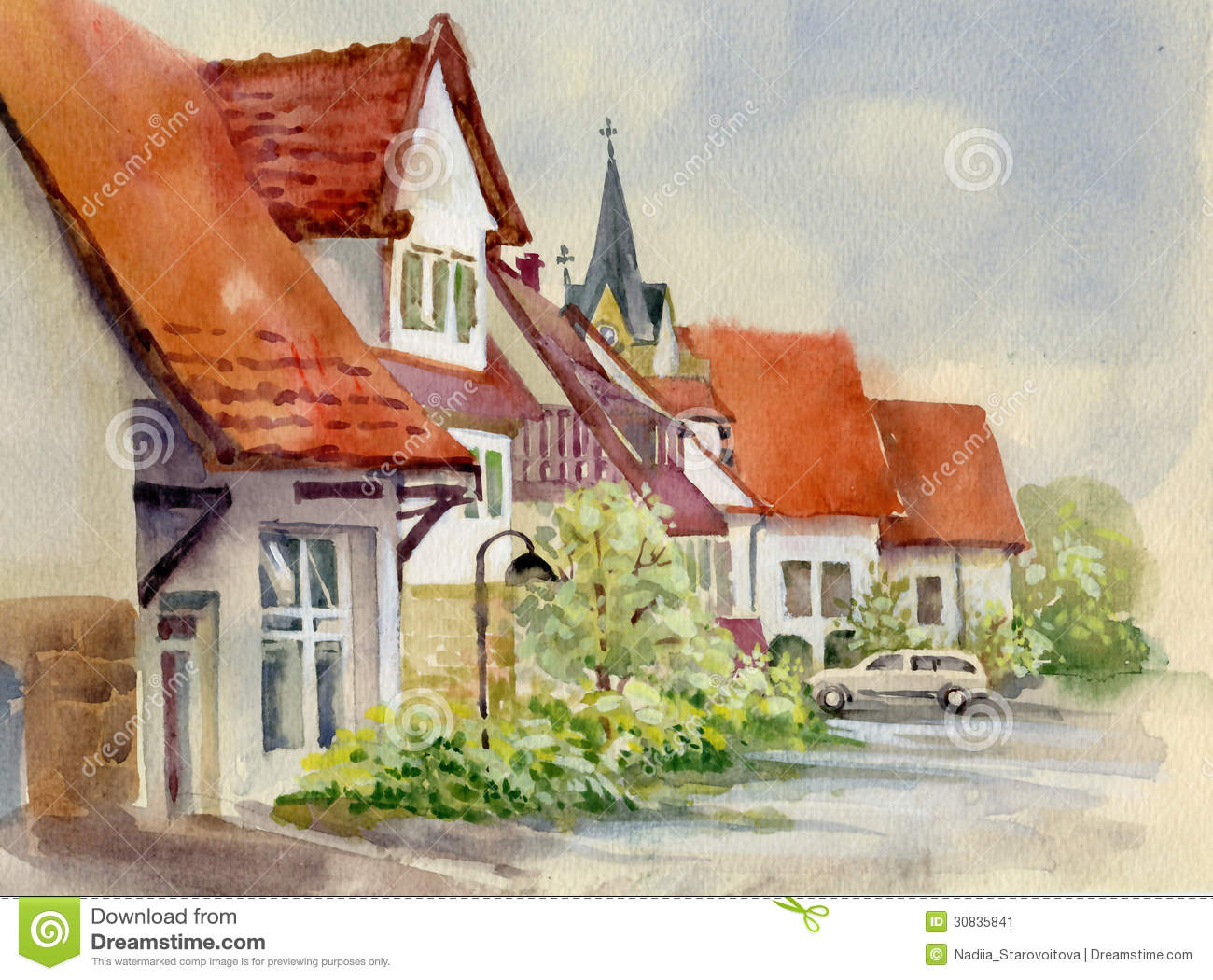 Watercolor Landscape Collection Village Life Stock Image