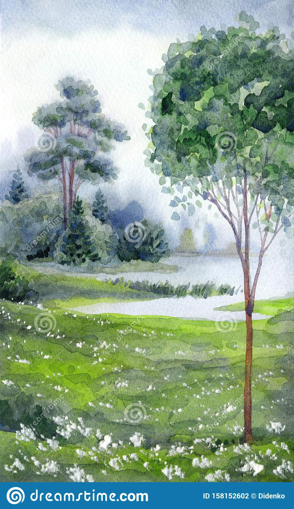 watercolor landscape forest near the lake stock illustration illustration of background beach 158152602 https www dreamstime com watercolor landscape forest near lake hand drawn watercolour paint sketch quiet haze scenic view white paper backdrop text image158152602