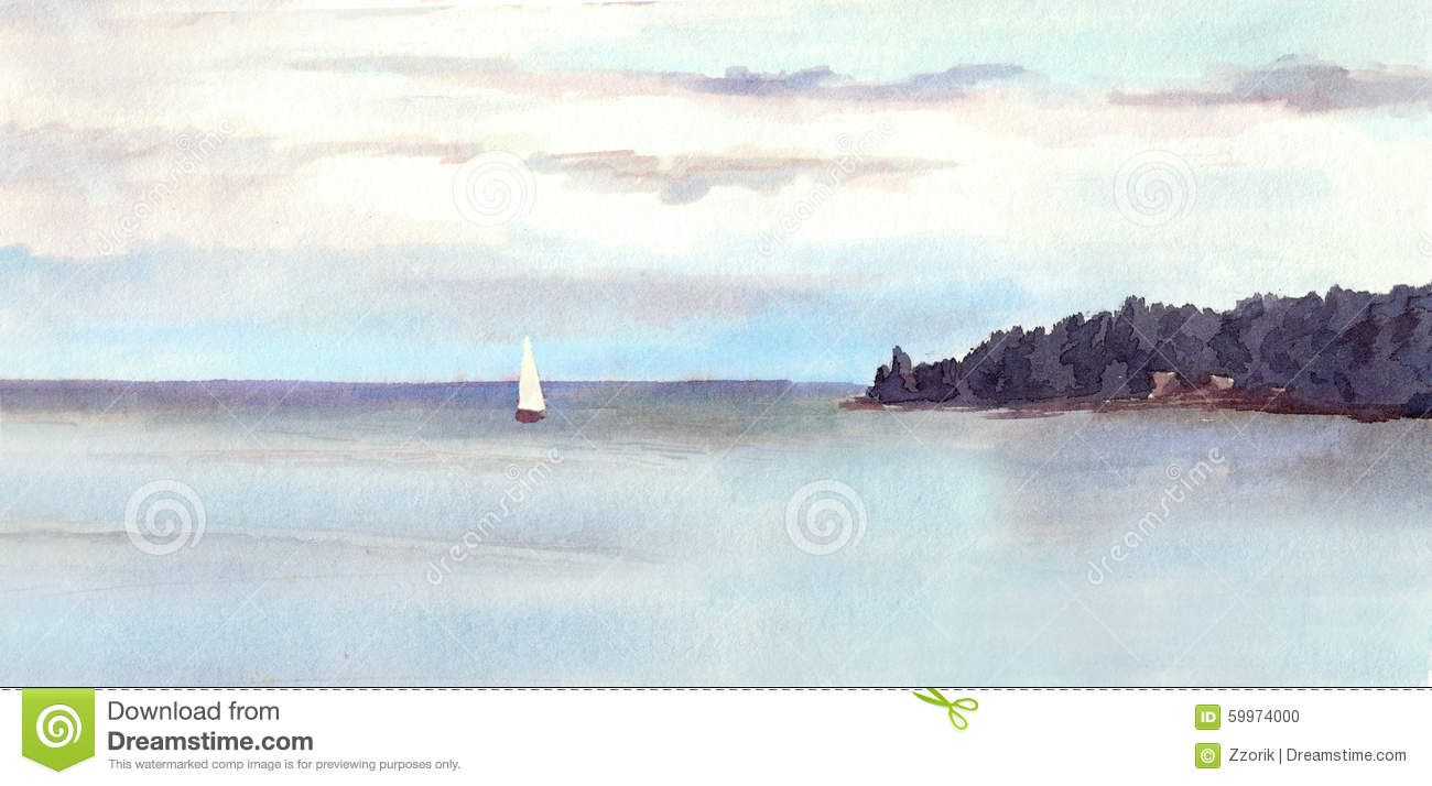 24d820625 Watercolor Landscape - Island, Sky With Clouds And White Sail. Stock ...