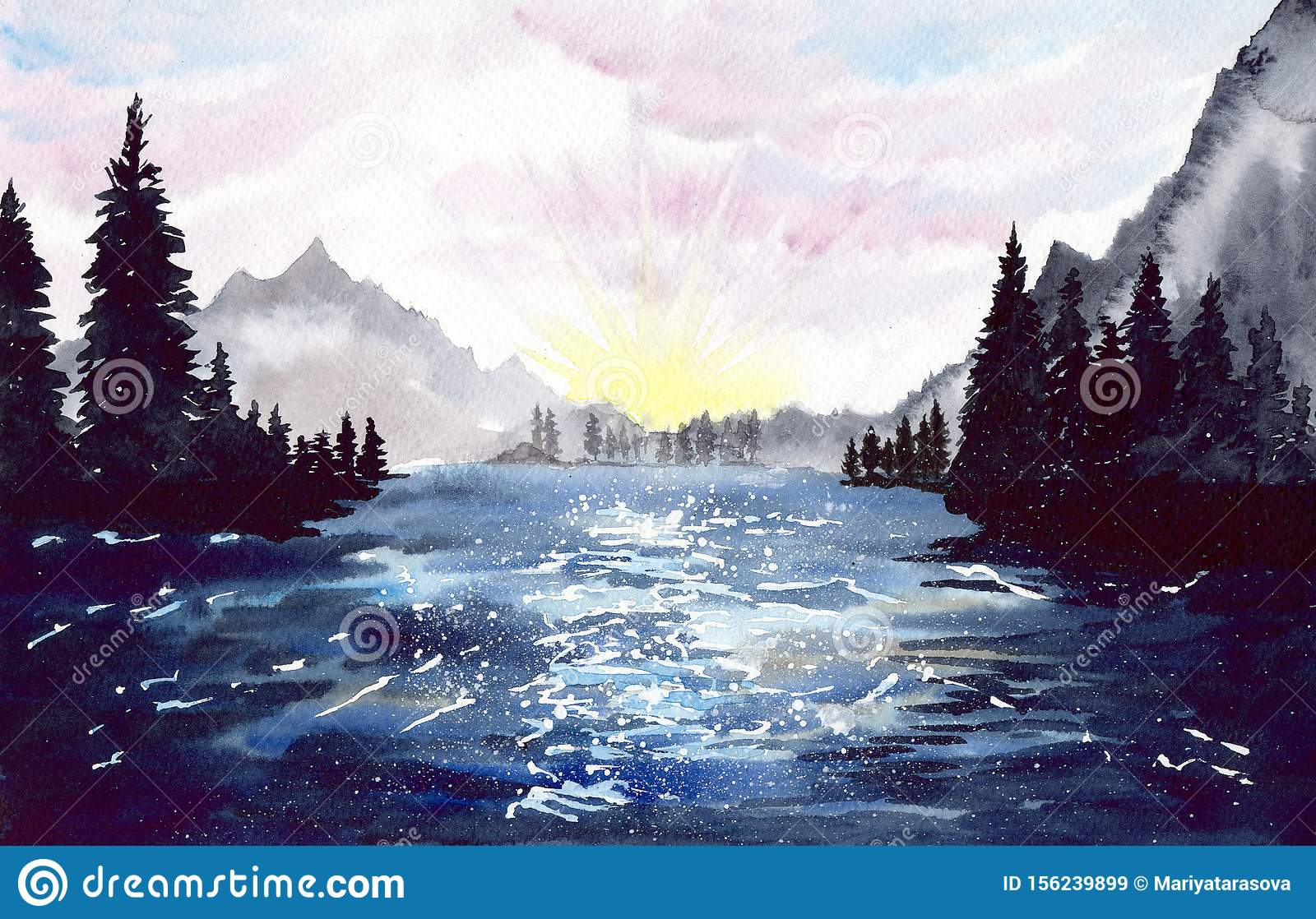 watercolor landscape with mountains and forest at dawn stock illustration illustration of reflection firs 156239899 https www dreamstime com watercolor landscape mountains forest dawn watercolor picture landscape mountains forest tall firs image156239899
