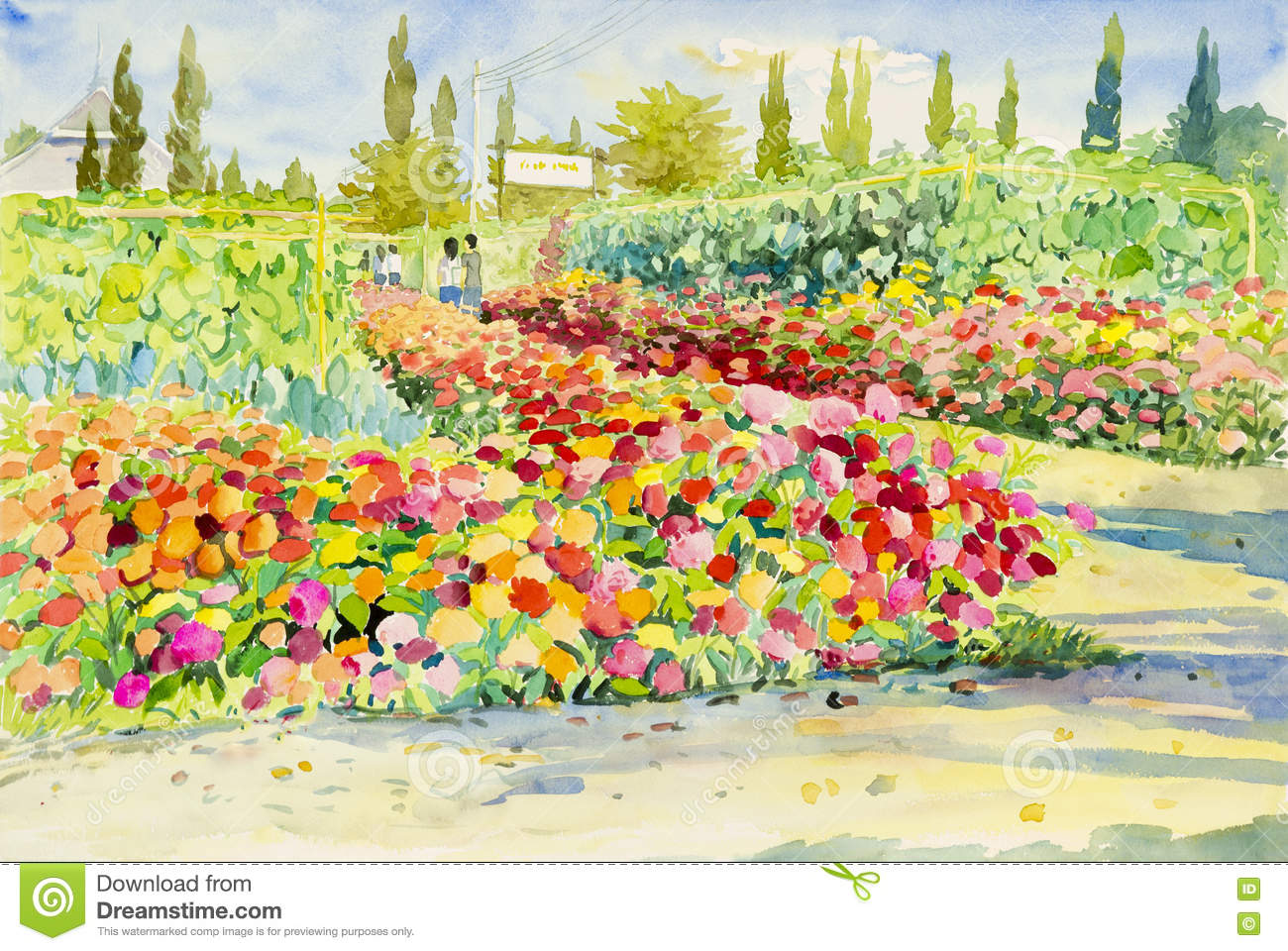 Watercolor Landscape Original Painting Colorful Of Flower Garden