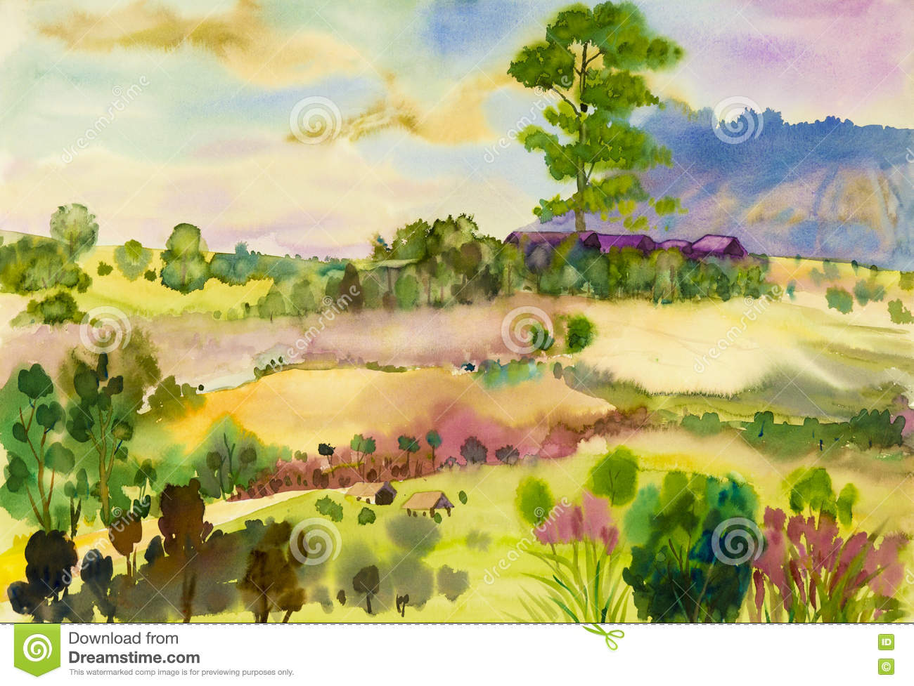watercolor landscape original painting colorful of rice Hay Clip Art Cornfield Maze