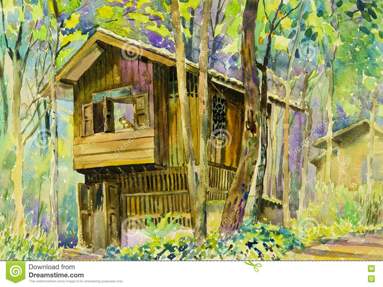 Watercolor landscape original painting colorful of wooden for Colorful tree house