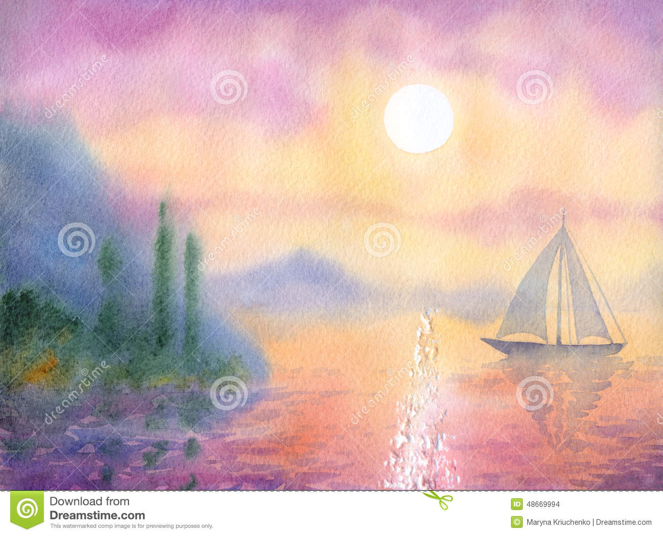 Watercolor Landscape. Sailboat At Sea Quiet Evening Stock Illustration - Image: 48669994