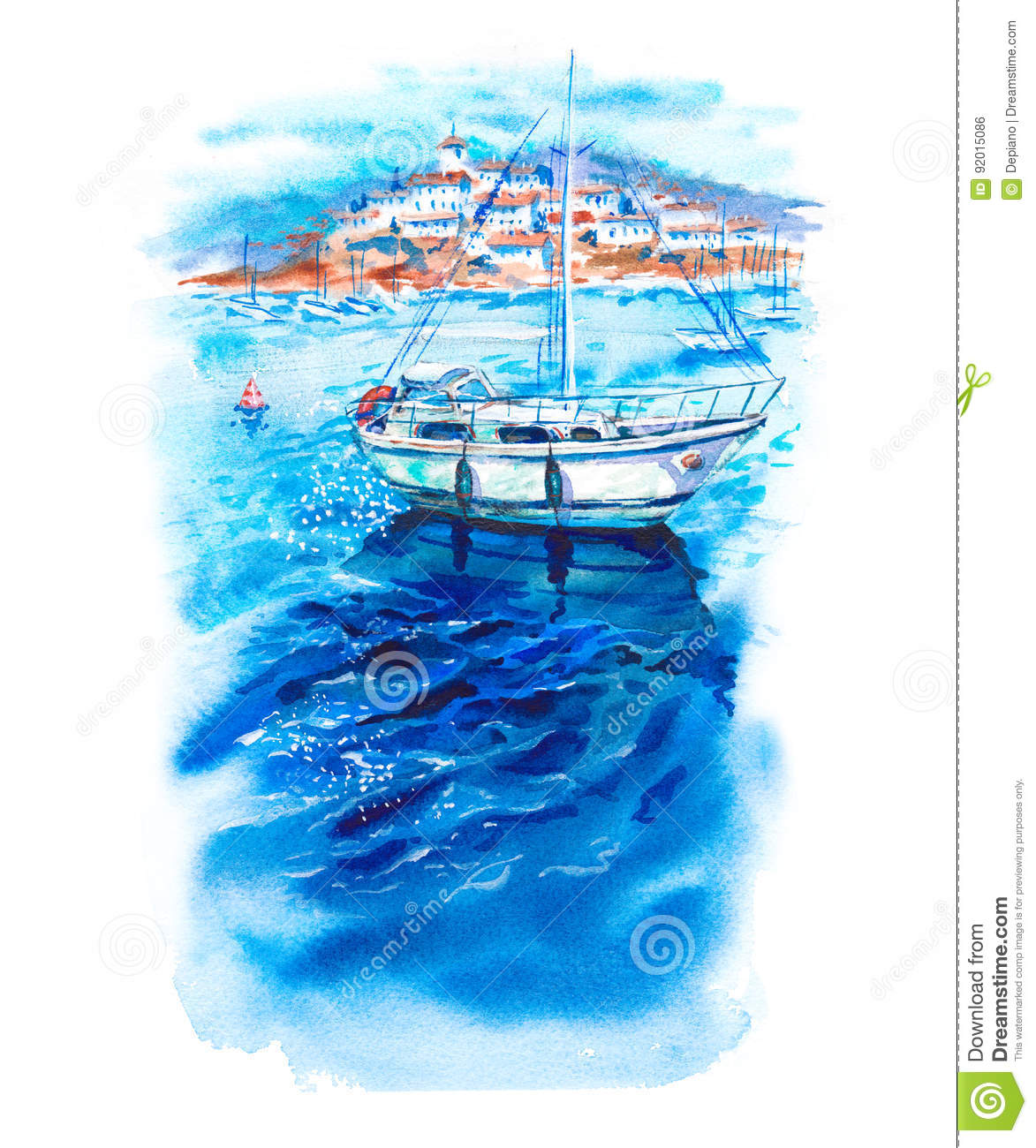 ac953ef2c Summer sun watercolor landscape with azure sea, boats, yachts, blue sky and  white coastal city, bright marine hand-drawn illustration isolated on white  ...