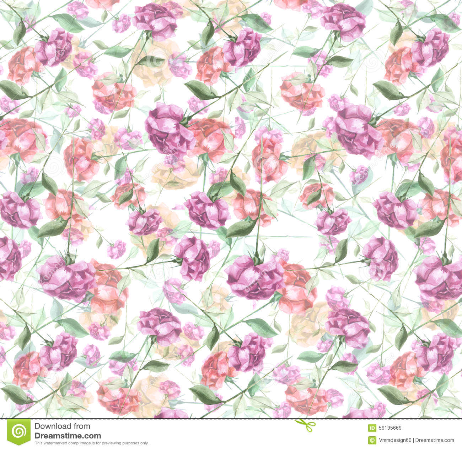 Watercolor Layered Rose Flower Art Seamless Wallpaper Background