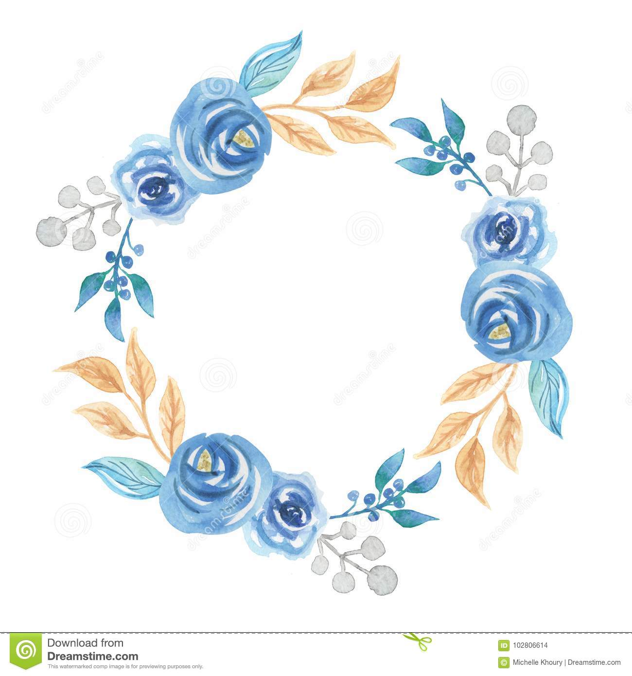 Watercolor leaves blue flowers wreath garland stock illustration hand painted watercolor leaves blue green wreath garland izmirmasajfo