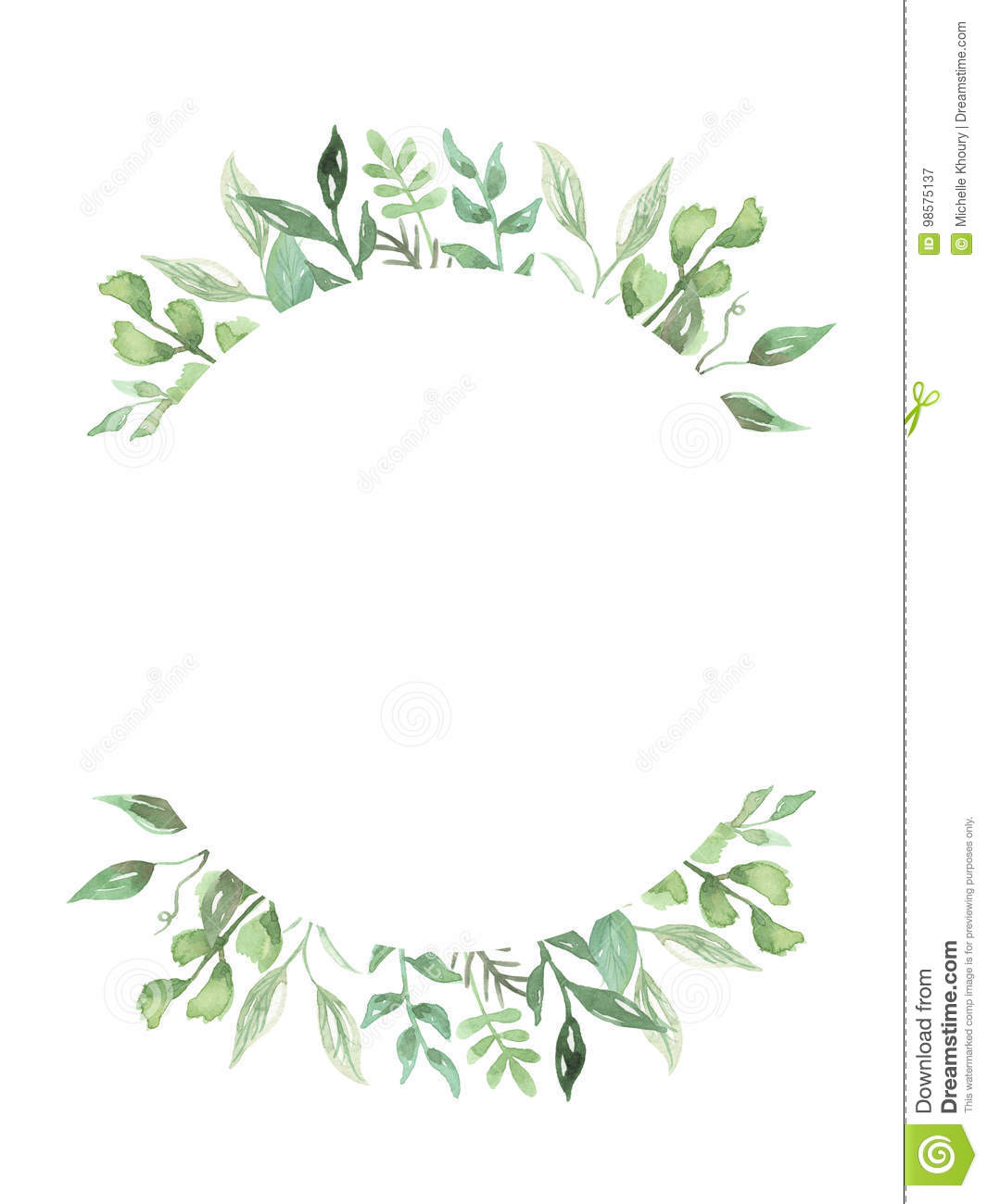 Watercolor Leaves Hand Painted Greenery Frame Wedding