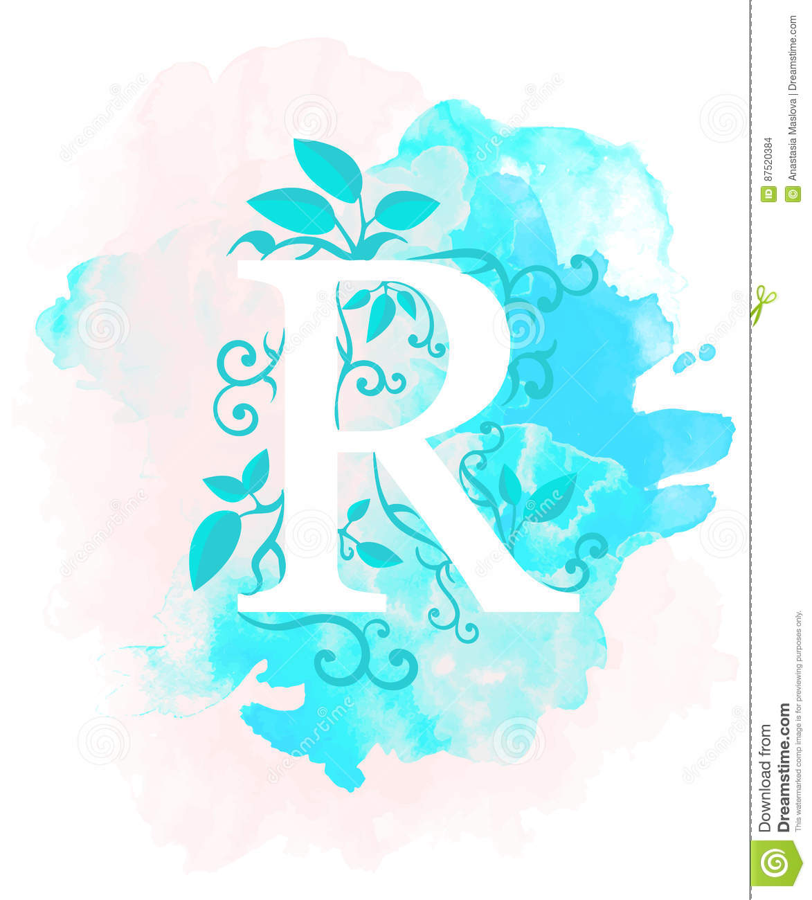 Download Watercolor Letter Calligraphy On Background Natural Elements Leaves Curls Design An Element For