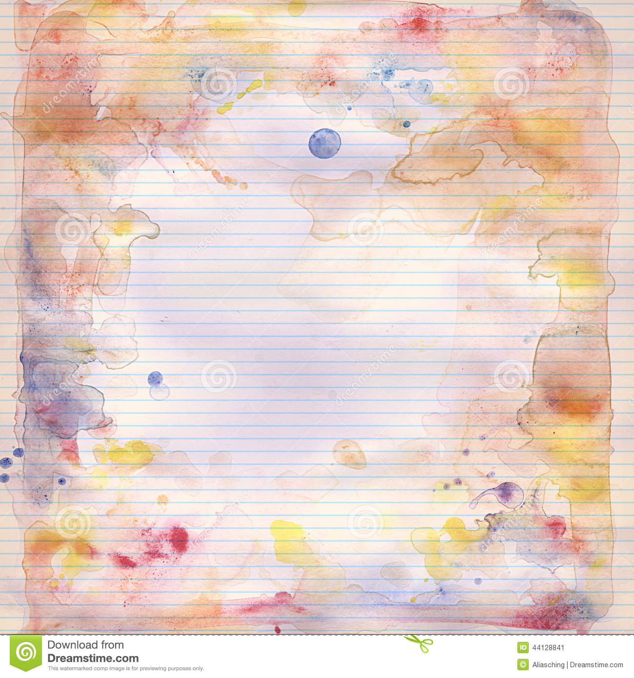 Hand painted watercolor on lined note book paper background.