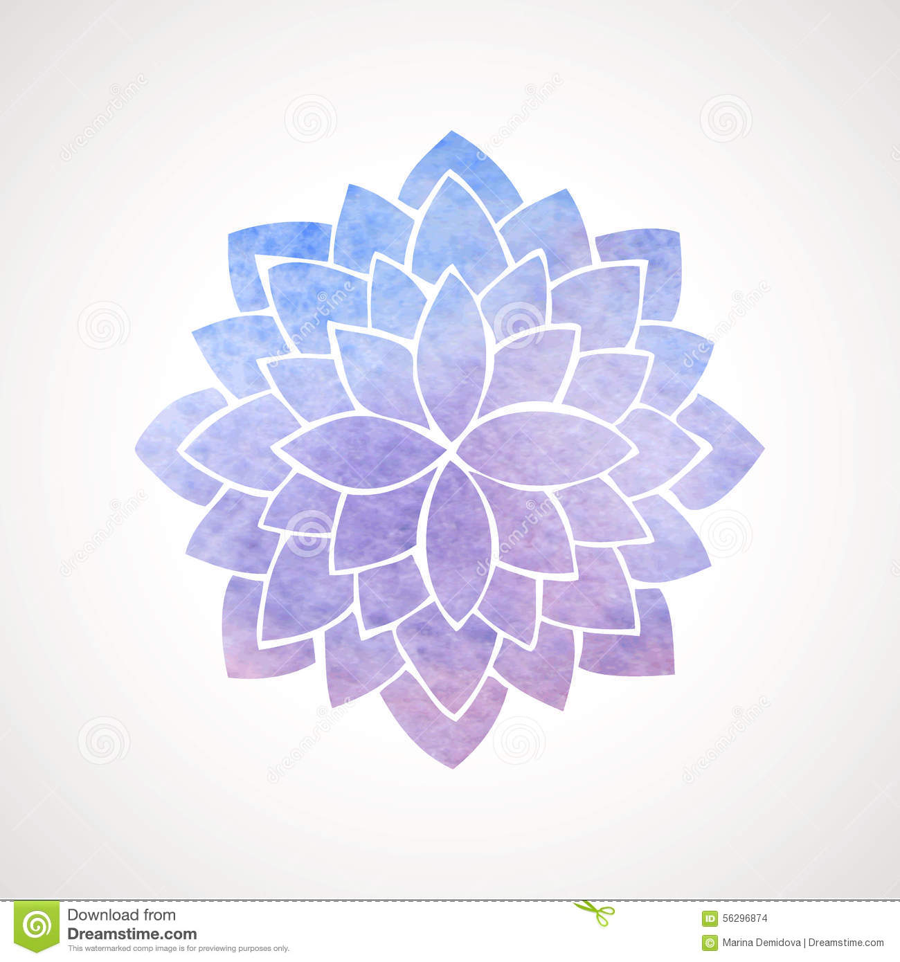 Watercolor lotus flower blue and violet stock vector illustration watercolor lotus flower blue and violet mightylinksfo