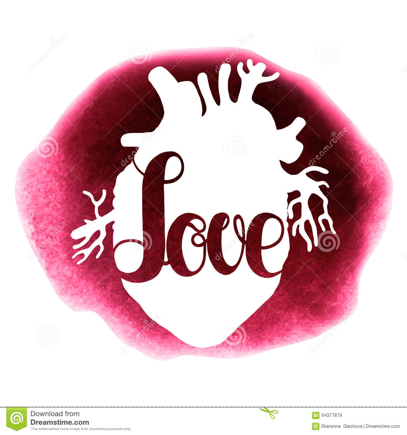 Watercolor Love Lettering And Heart Stock Vector Image