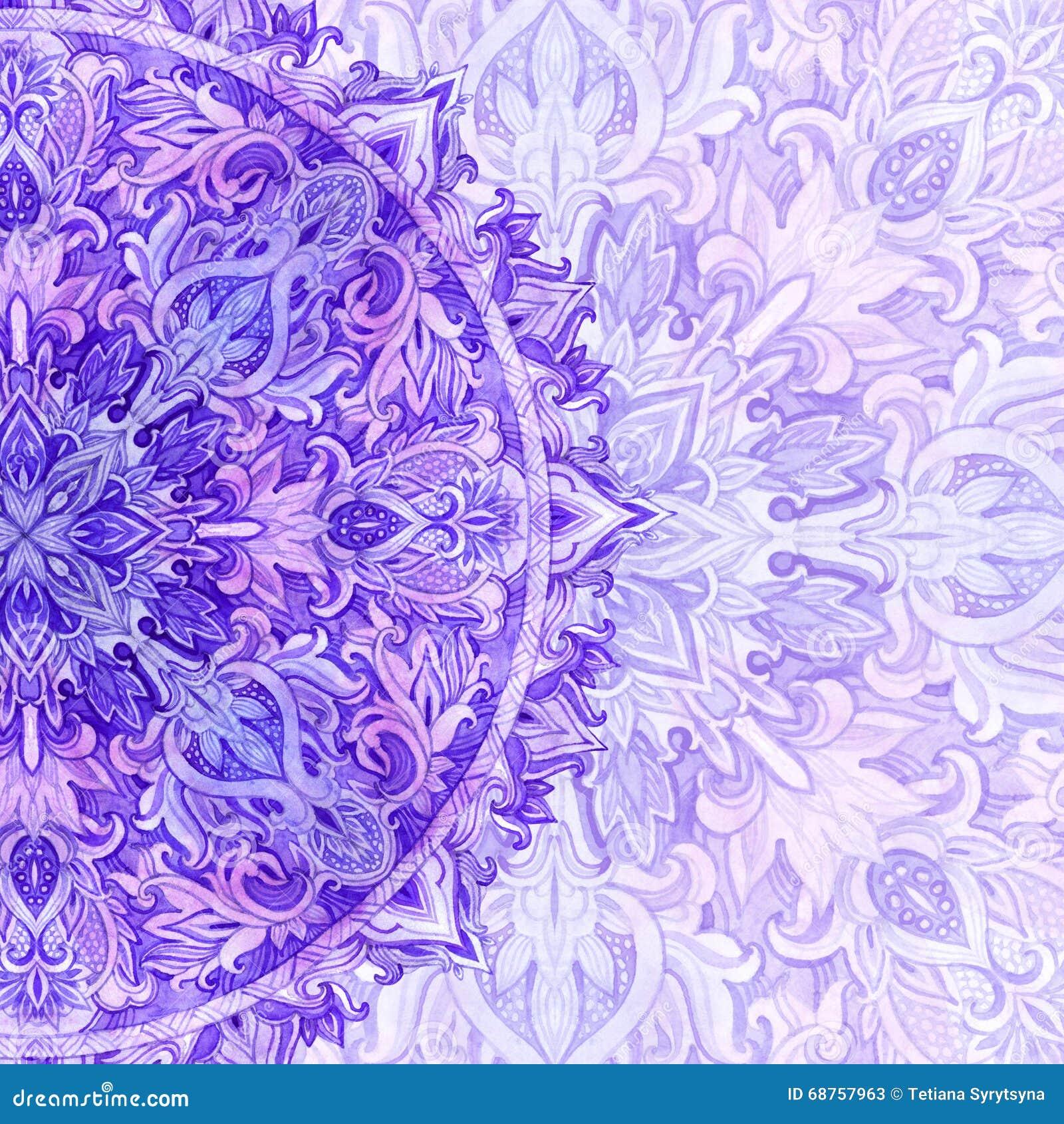 Watercolor Mandala. Traditional Lace In Natural Colors ...