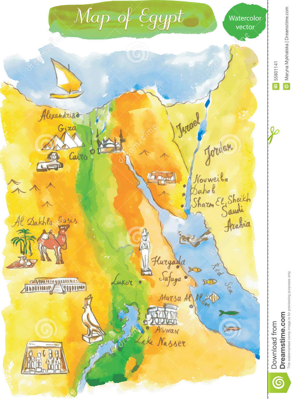 Watercolor Map Of Attractions Egypt Stock Illustration Image - Map of egypt free download